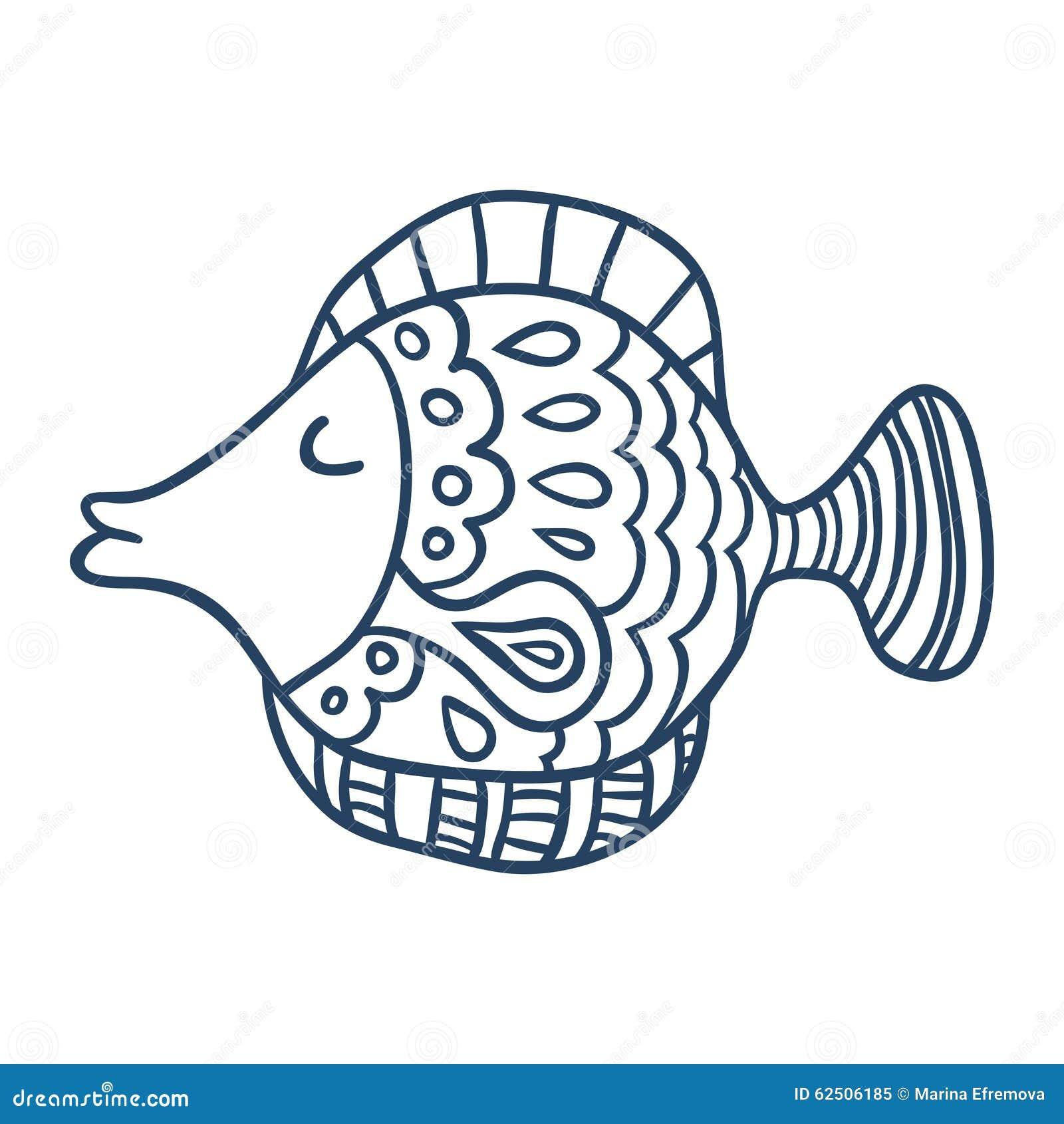 Line Art Cartoon : Cute fish cartoon line art coloring stock vector image