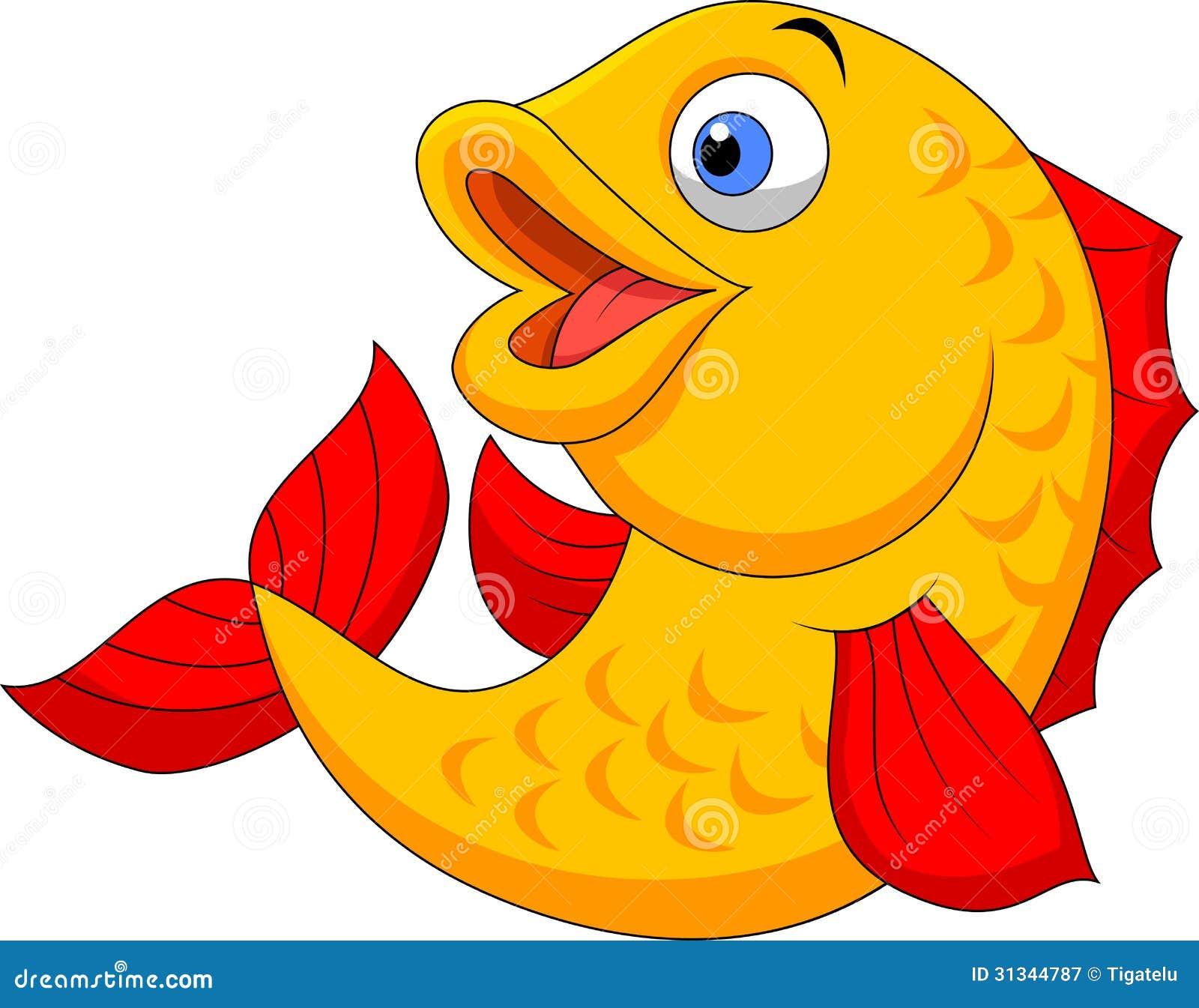 Cute Fish Cartoon Waving Stock Vector. Illustration Of