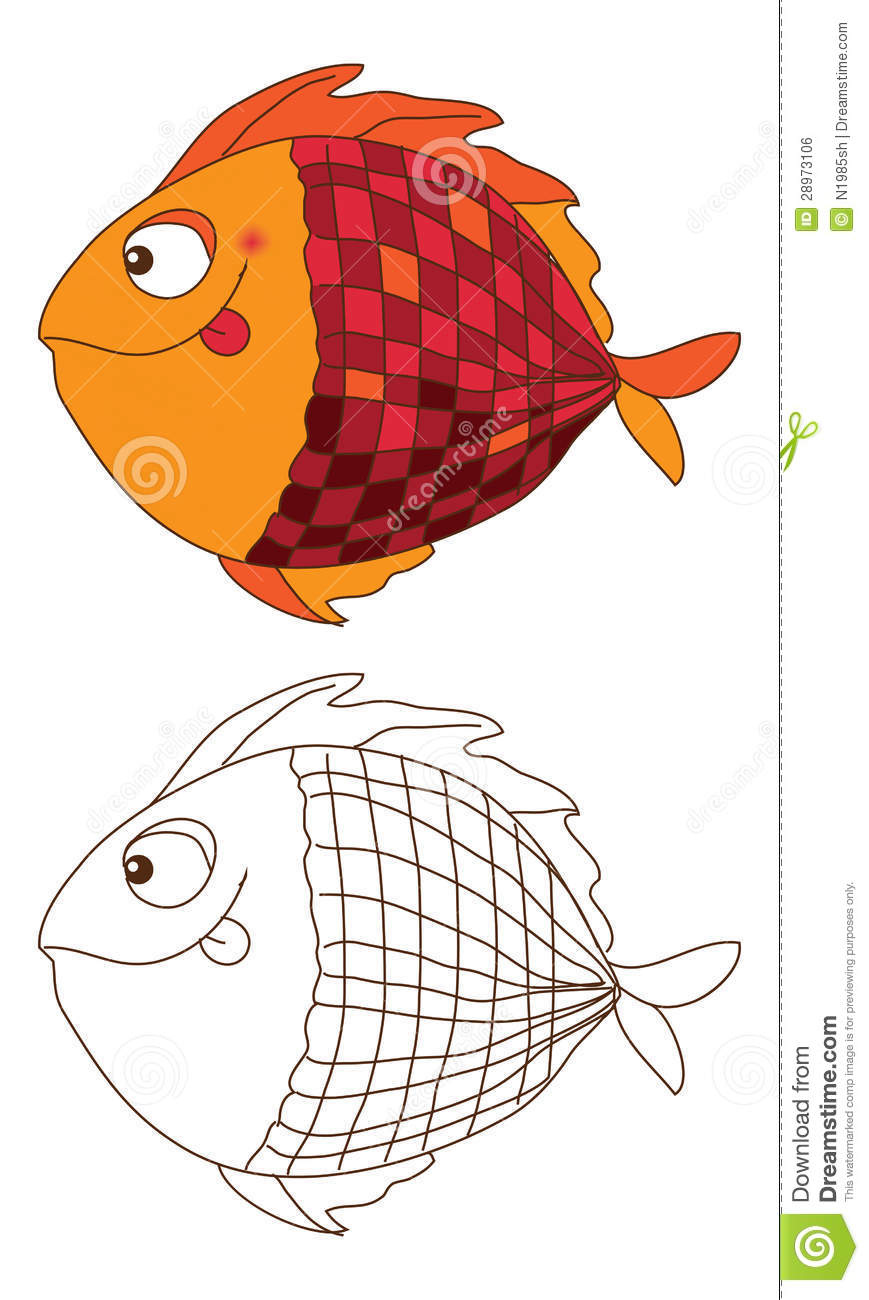 Cute Fish In Color And Outline Stock Vector - Illustration of line ...