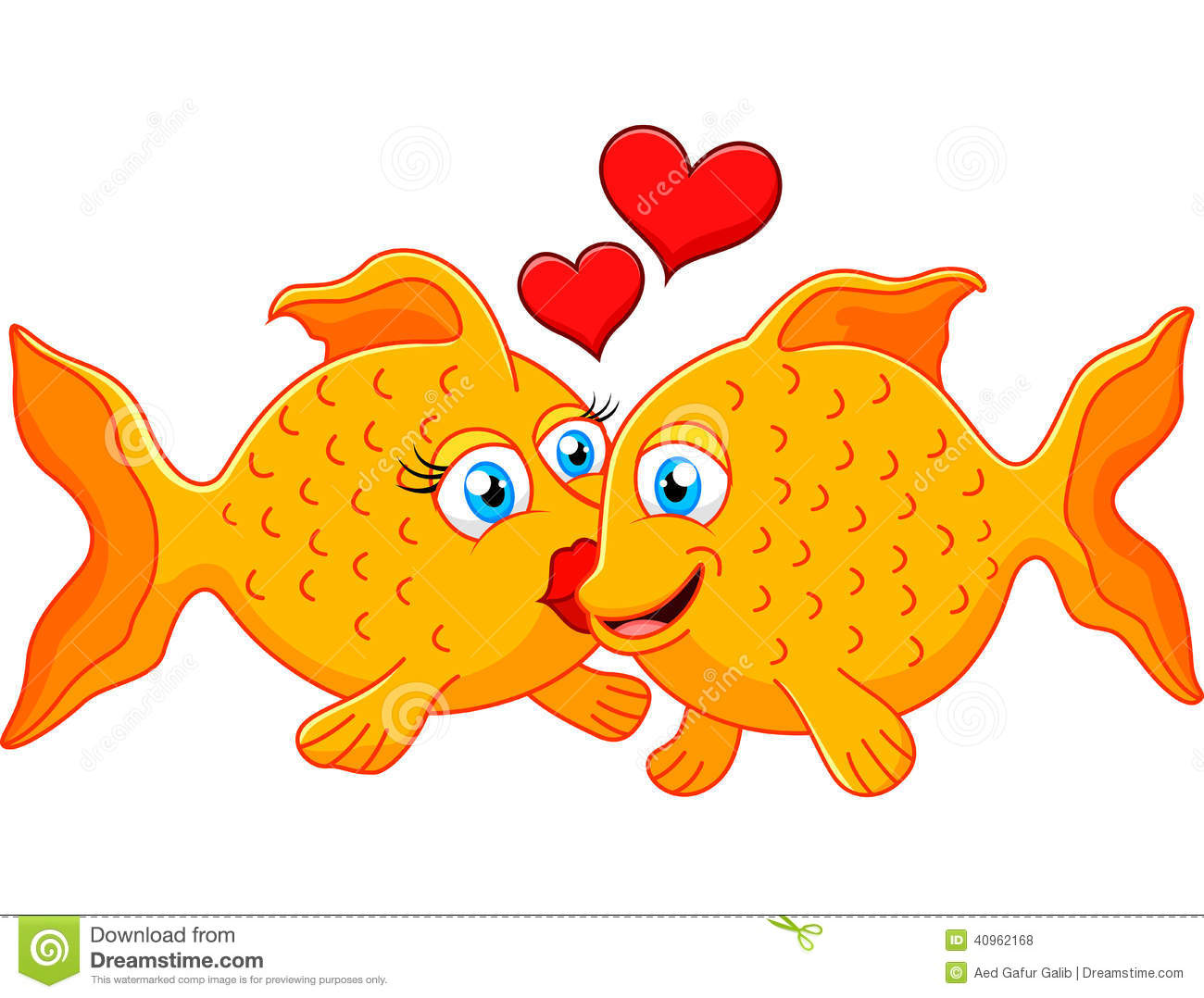 Cute fish couple in love with heart stock vector image for I love the fishes