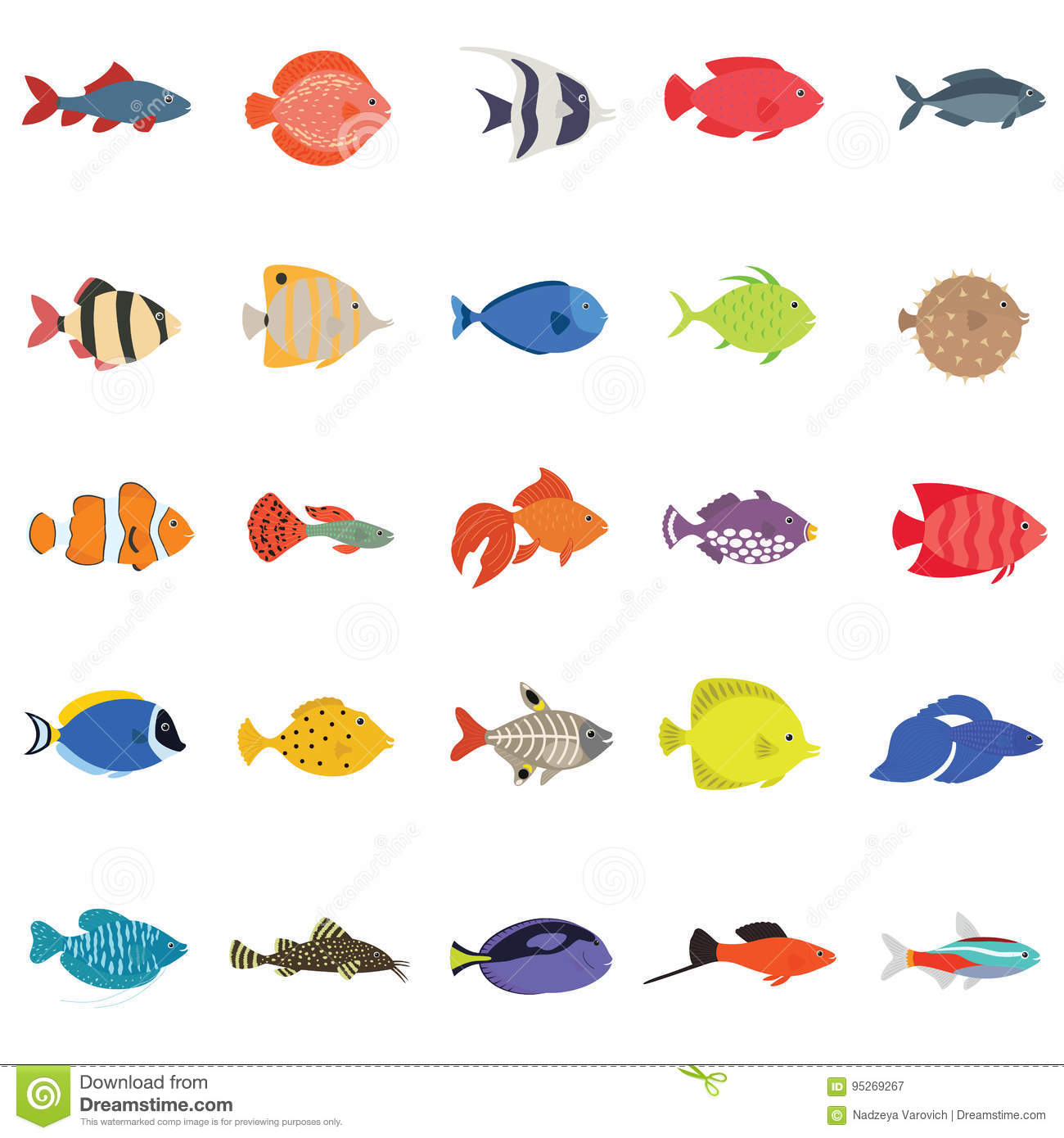 Various cute fishes collection 2 cartoon vector for Cute freshwater fish