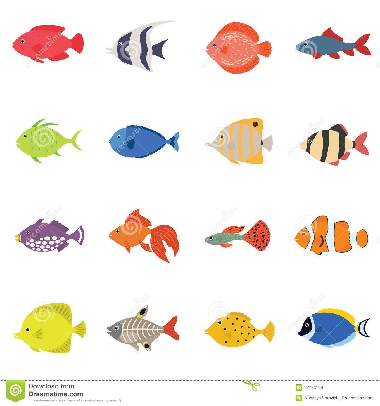 Bright colored cartoon fishes set vector illustration for Cute freshwater fish