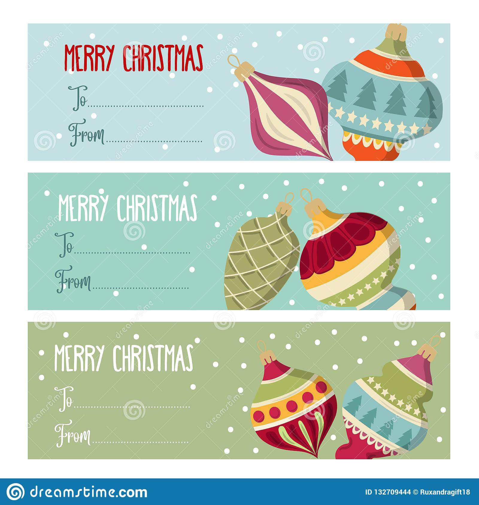 Cute flat design Christmas labels collection with Christmas bal
