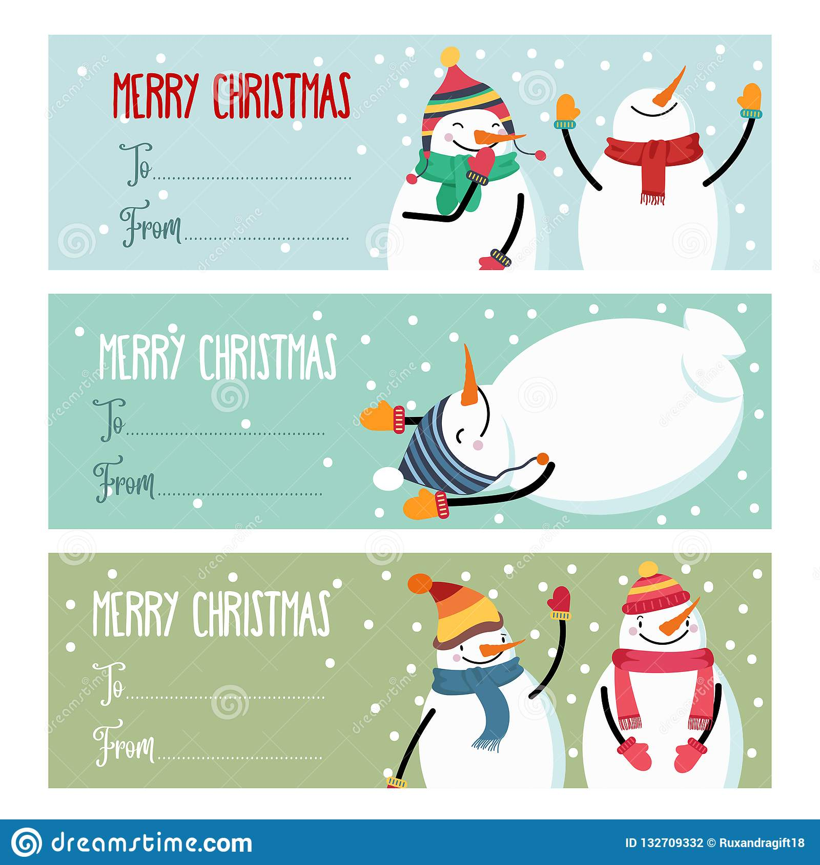 Cute flat design Christmas labels collection with snowman isolated on white backhround