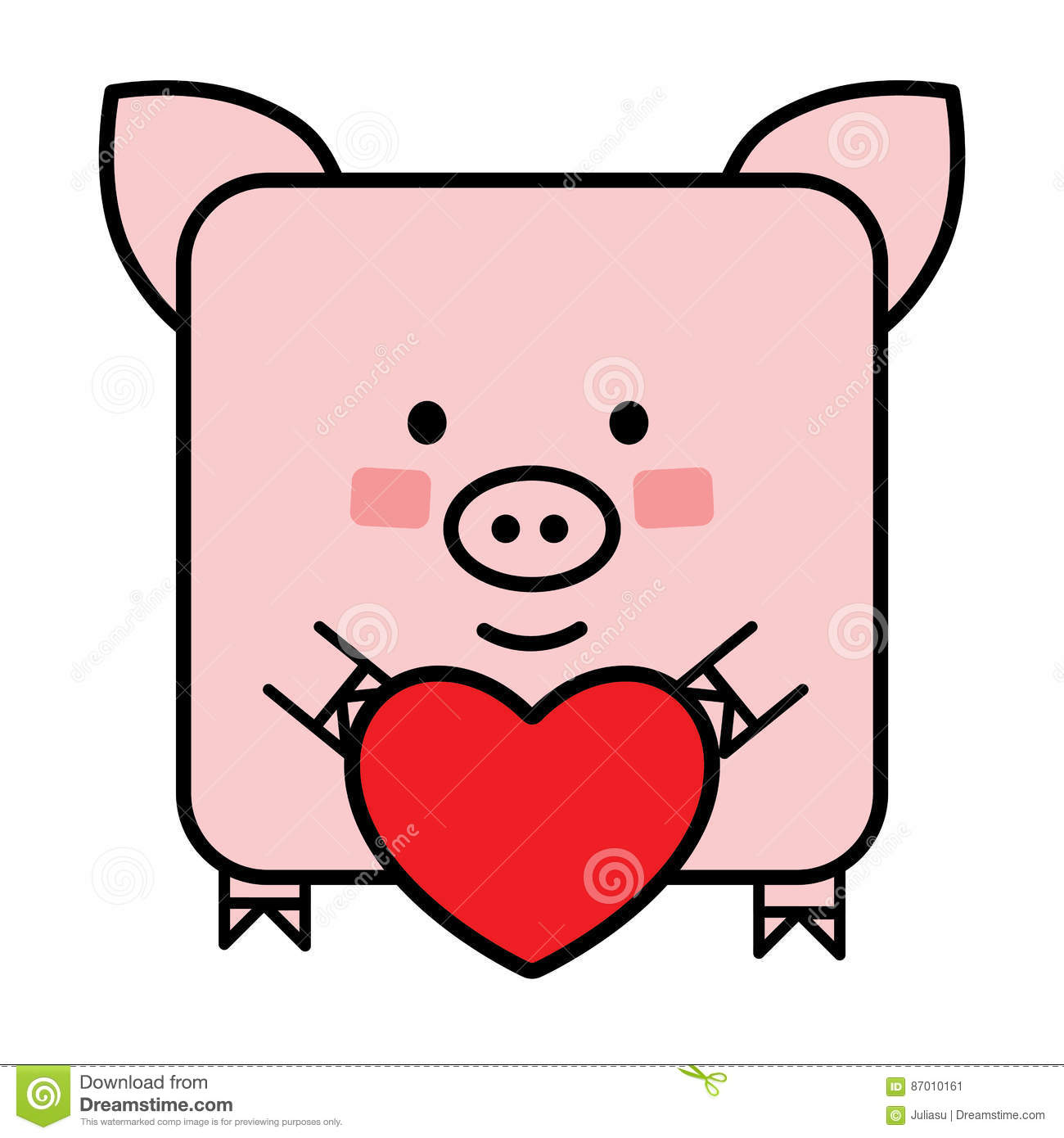Cute Flat Pig Emoticon With A Heart