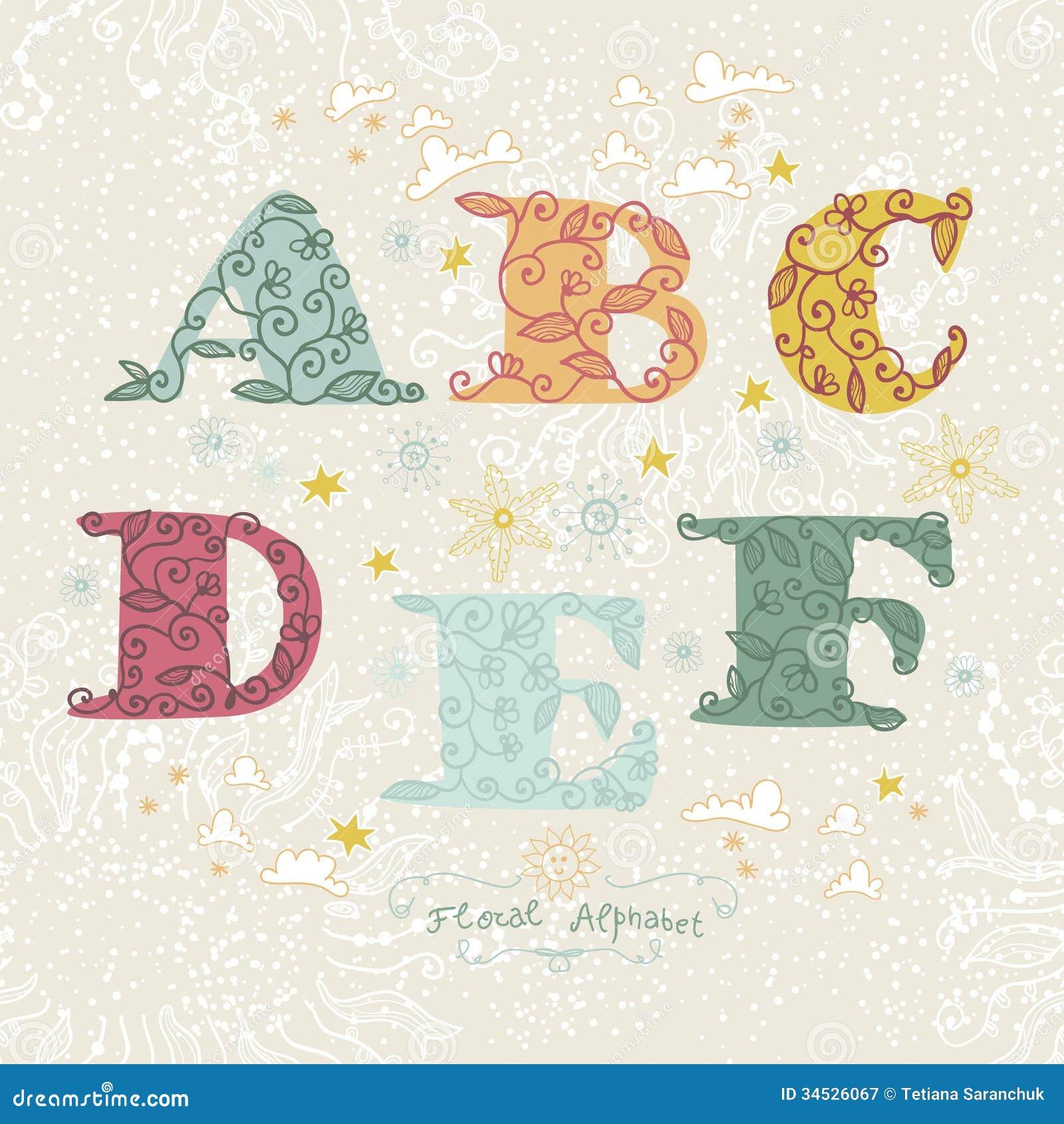 Cute Floral Alphabet  Letters A  B  C  D  F  E Stock