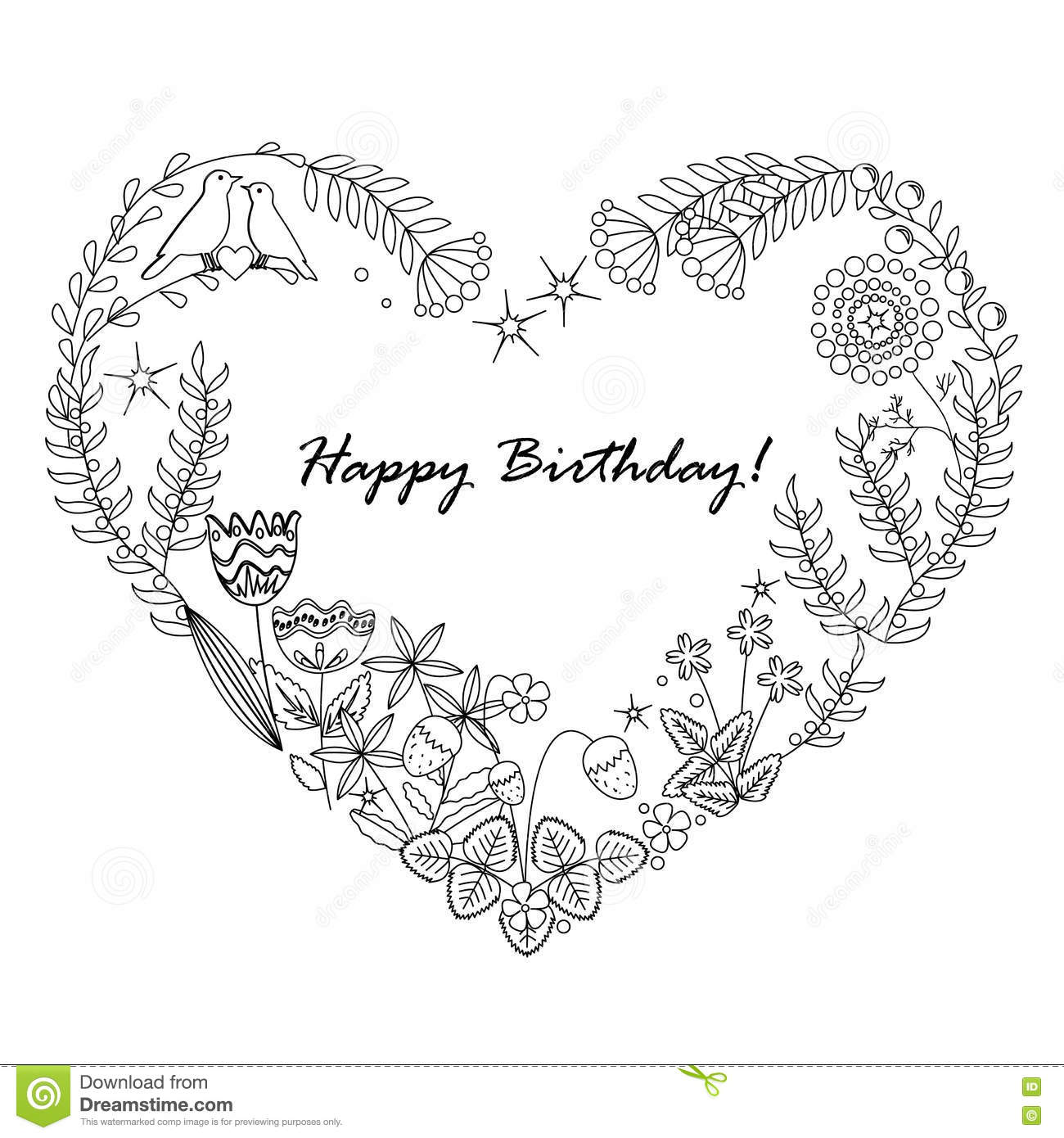 Cute Floral Background With A Heart Frame. Happy Birthday ...