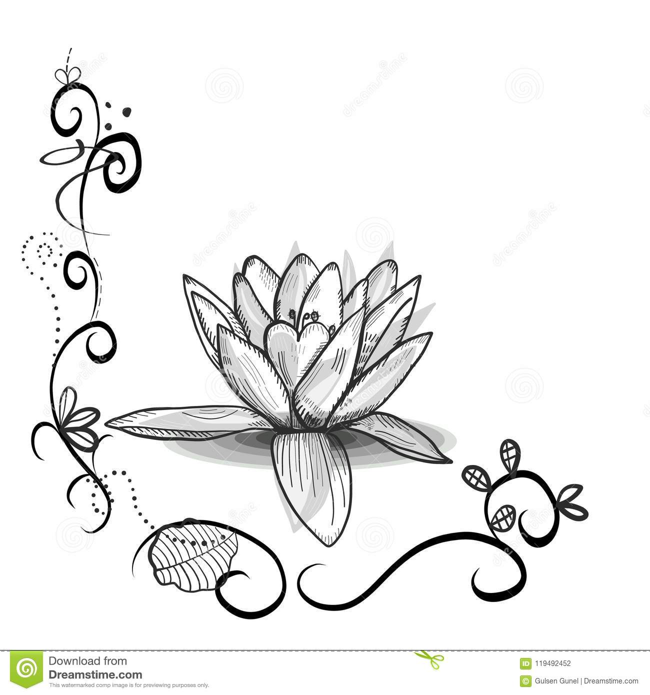 Cute Floral Frame With Lotus Flower Tattoo Design Black White