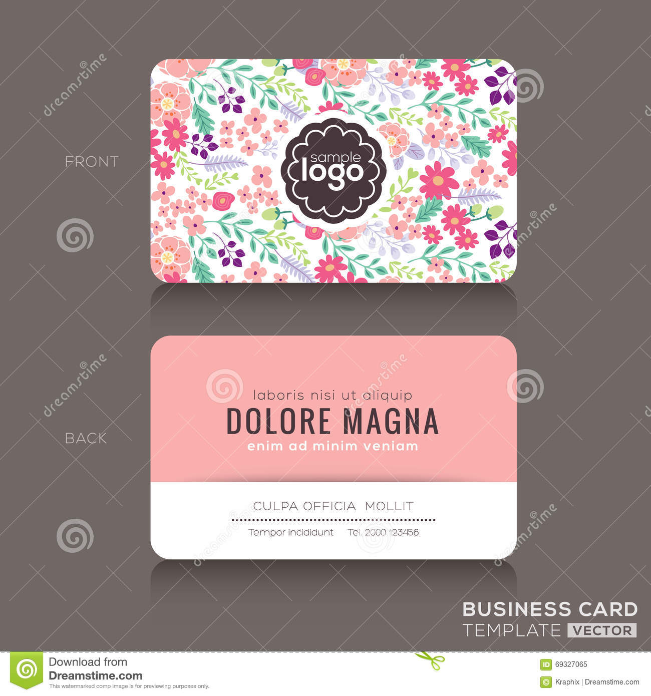cute floral pattern business card name card design stock vector illustration of flower. Black Bedroom Furniture Sets. Home Design Ideas