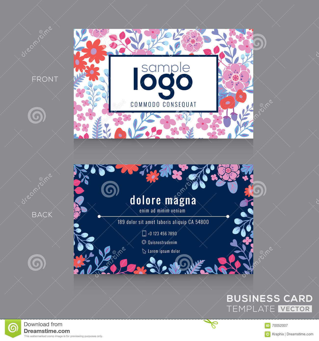 Floral business card design stock illustration illustration of cute floral pattern business card name card design royalty free stock photography reheart Choice Image