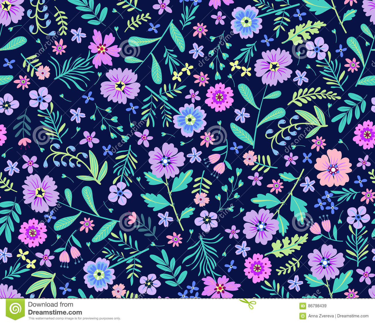 Cute Floral Pattern Stock Vector Illustration Of Concept 86798439