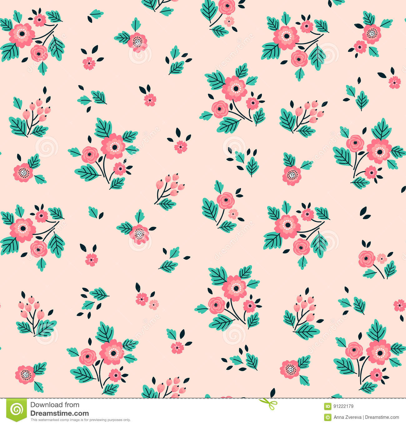 Cute floral pattern stock vector illustration of endless 91222179 download cute floral pattern stock vector illustration of endless 91222179 mightylinksfo