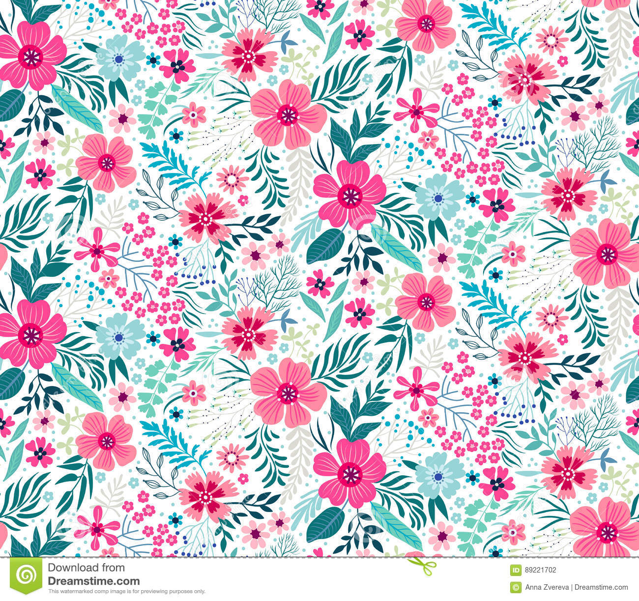 Cute floral pattern stock illustration illustration of gift 89221702 pretty flowers on white backgroung printing with small scale pink flowers ditsy print seamless texture spring bouquet mightylinksfo
