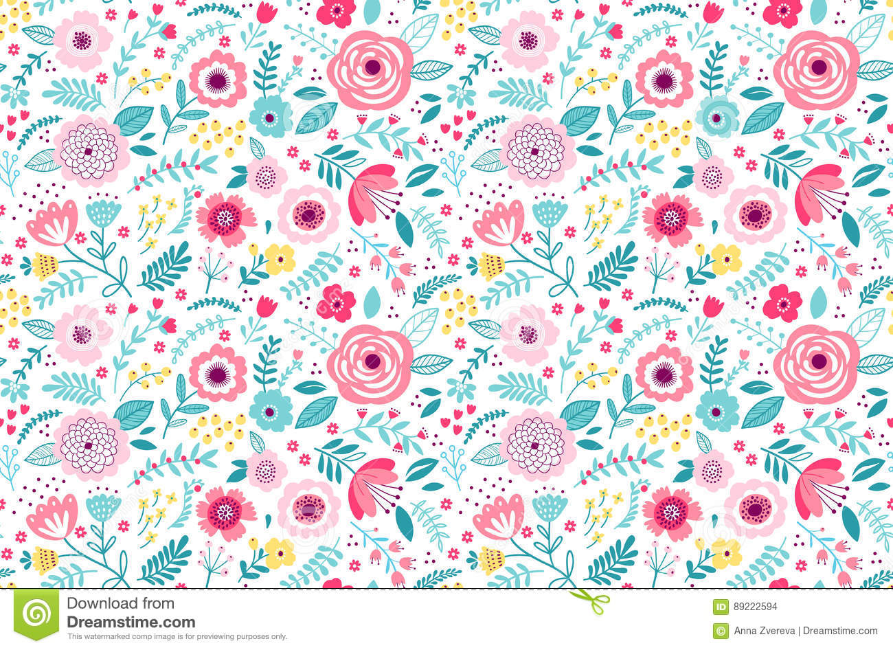 Cute Floral Pattern Stock Vector Illustration Of Endless 89222594