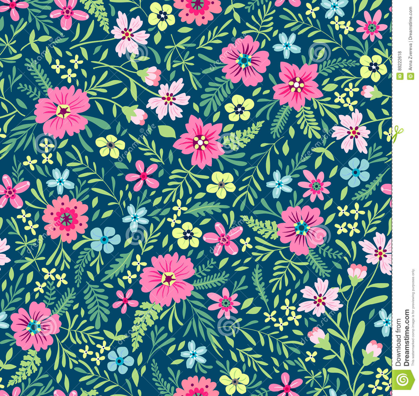 Cute Floral Pattern Stock Vector Illustration Of Meadow 89222618
