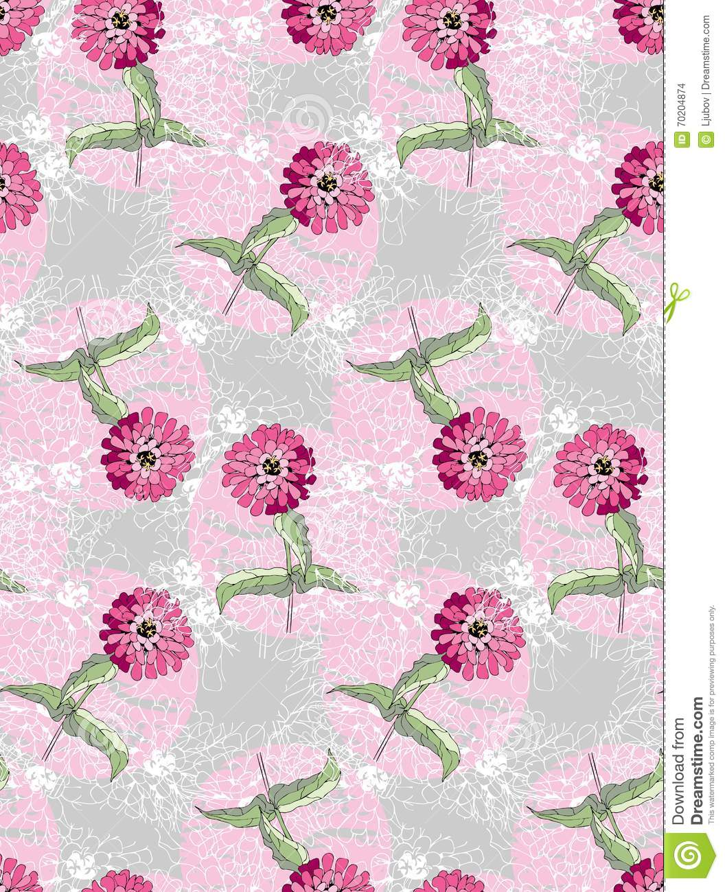 Cute Floral Seamless Pattern Pink Flowers On Grunge Background