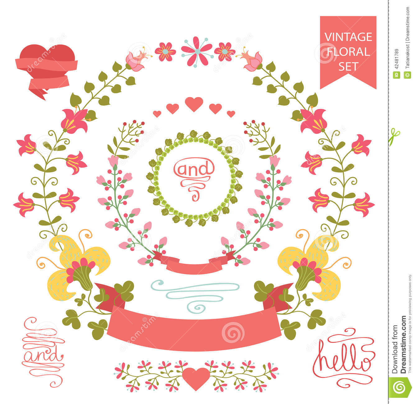 Hearts And Stars Kitchen Collection Doodles Cute Elements Vector Illustration Cartoondealer
