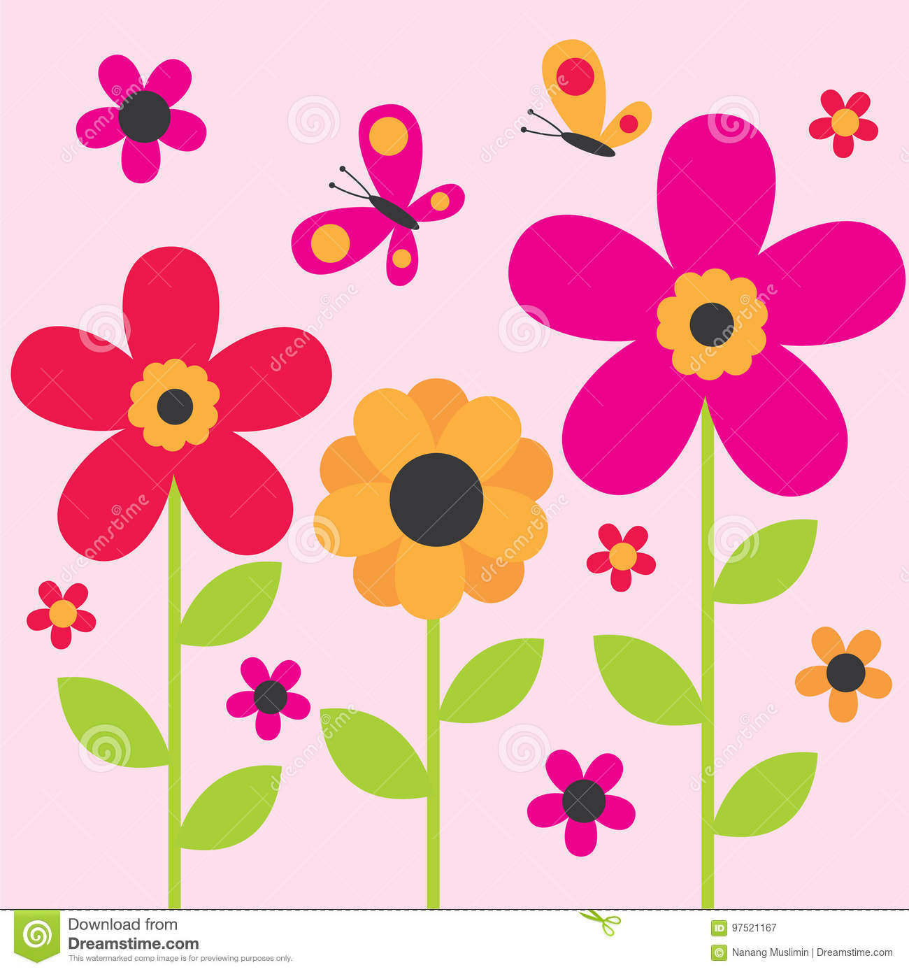Cute Flower And Butterfly Design Stock Illustration