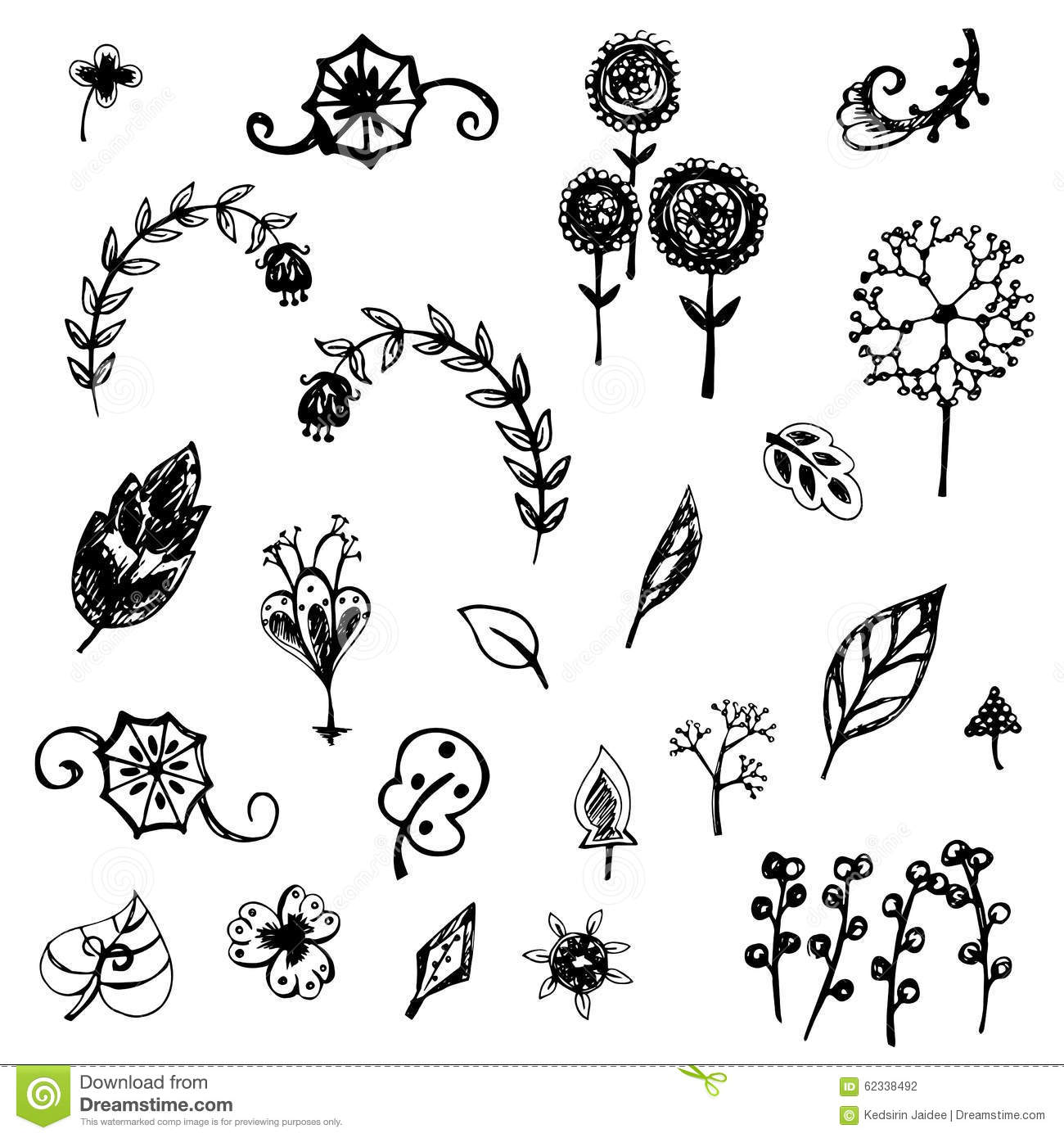 Cute flower and leaves sketch vector stock vector image for How to draw a cute flower