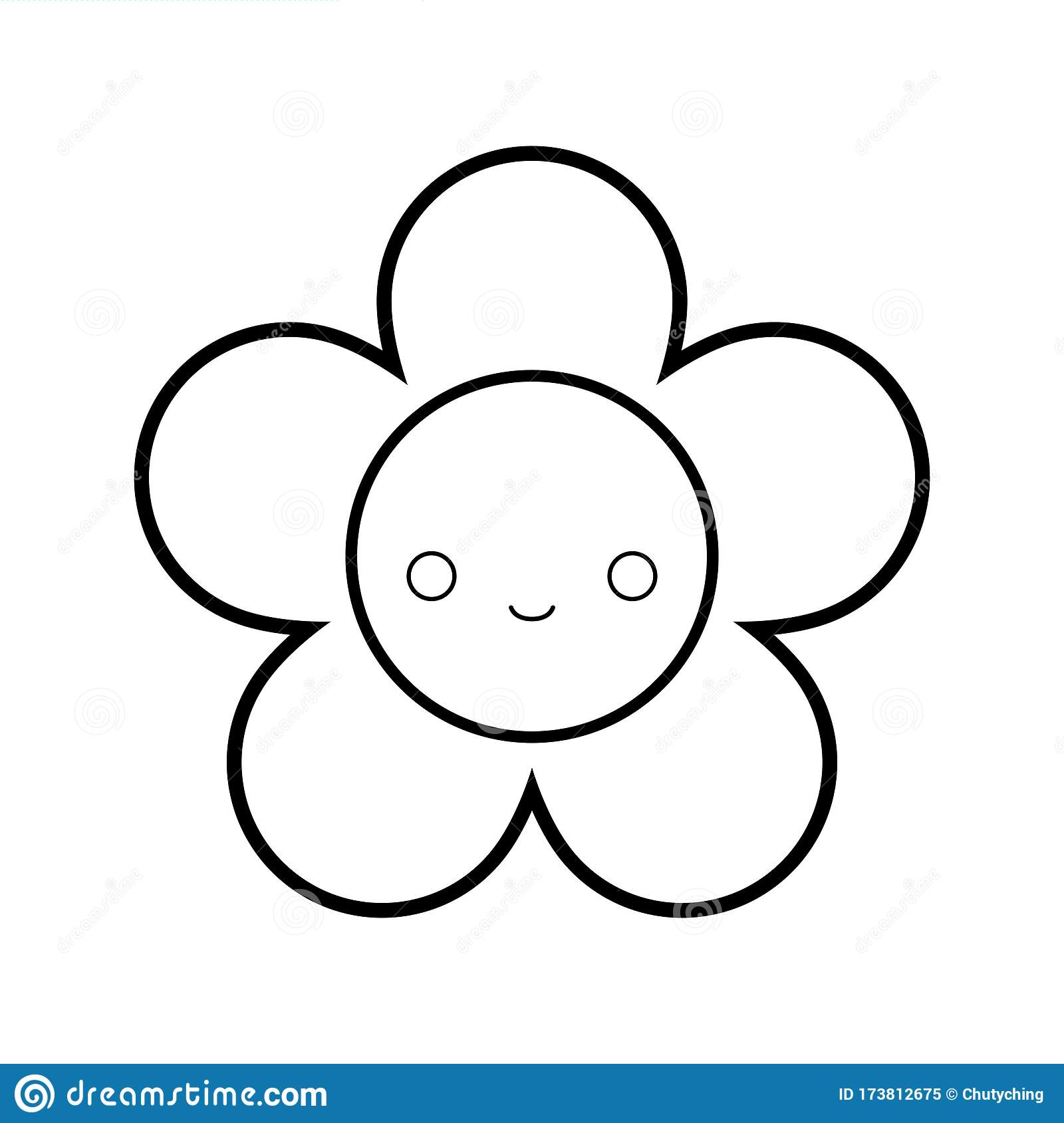 Cute Flower Outline Drawing For Children S Coloring Book Stock Vector Illustration Of Coloring Cartoon 173812675