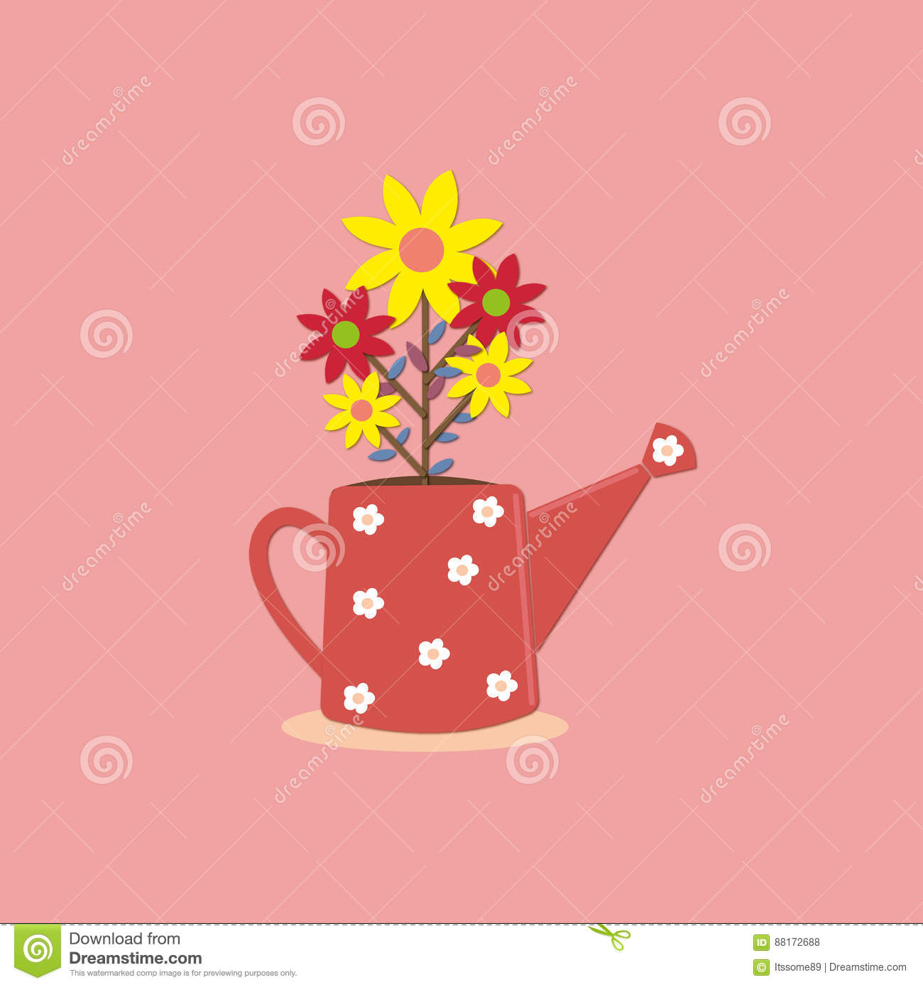 Cute Yellow And Red Flower In Pink Teapot With Soft Pastel Wallpaper