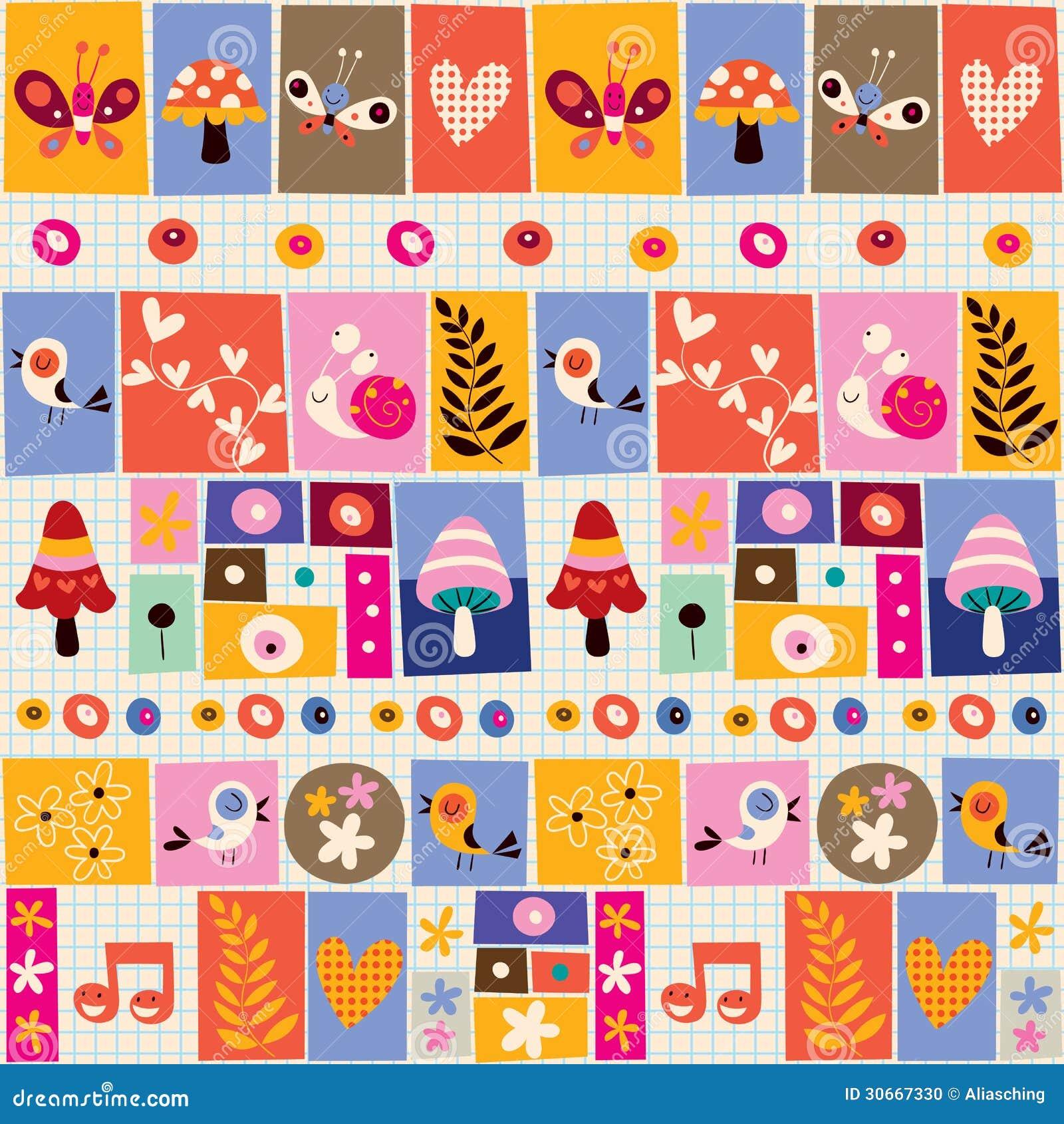 Cute Flowers, Birds, Mushrooms & Snails Collage Pattern ...