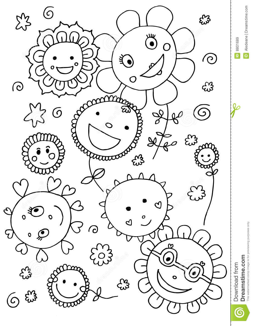 Download Cute Flowers Coloring Page Stock Illustration Of