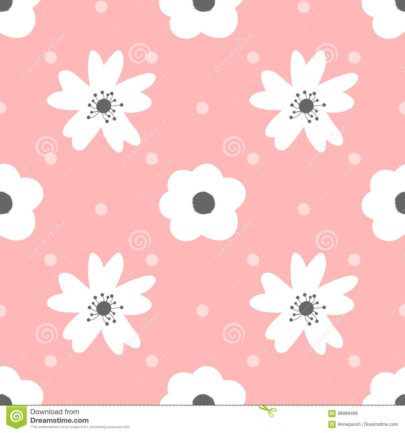 Cute Flowers And Polka Dot Seamless Pattern For Girls Stock Vector