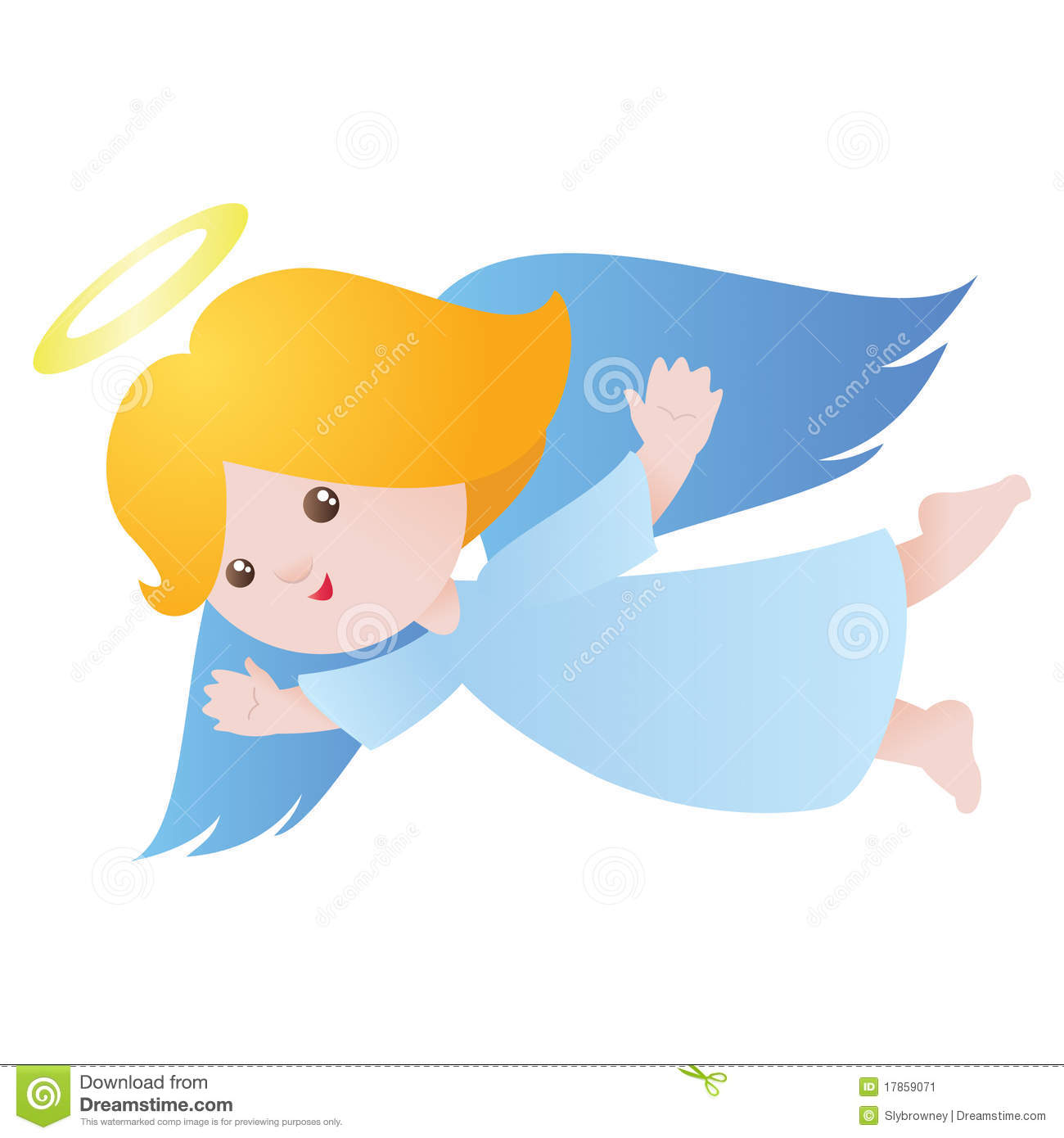 Cute flying angel stock vector illustration of decoration for Angel clipart