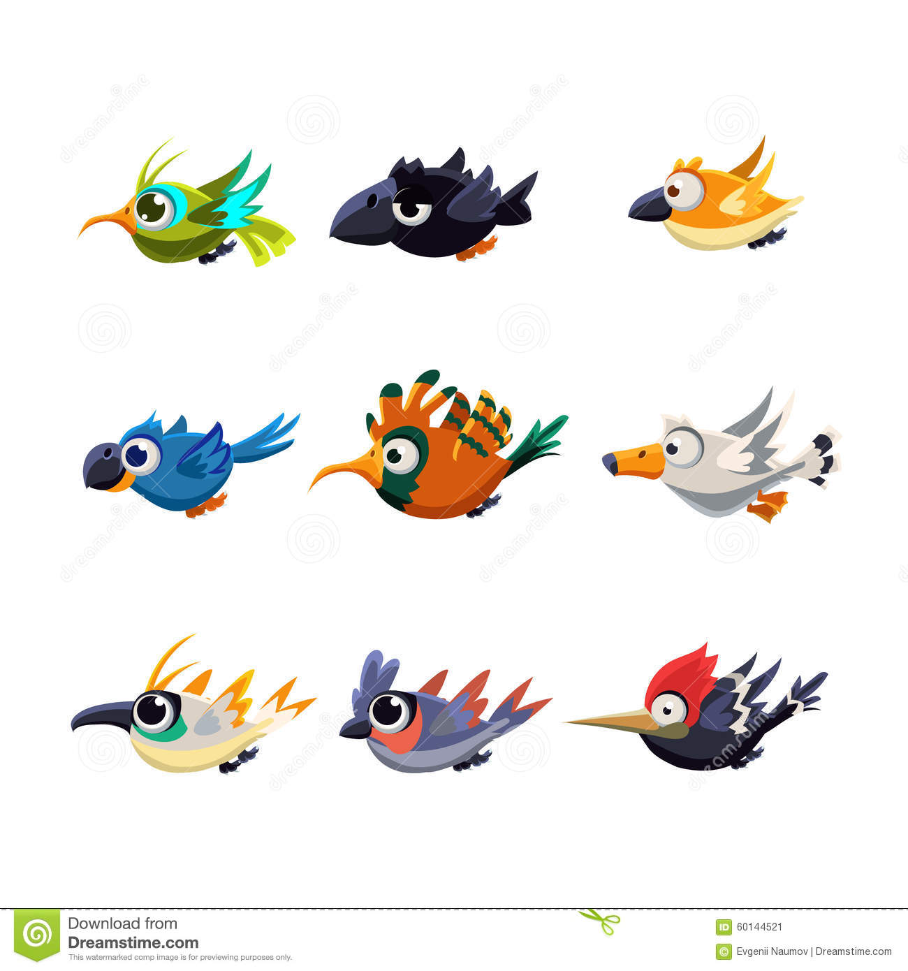 Stock Illustration Cute Flying Birds Vector Illustration Set Cartoon C...