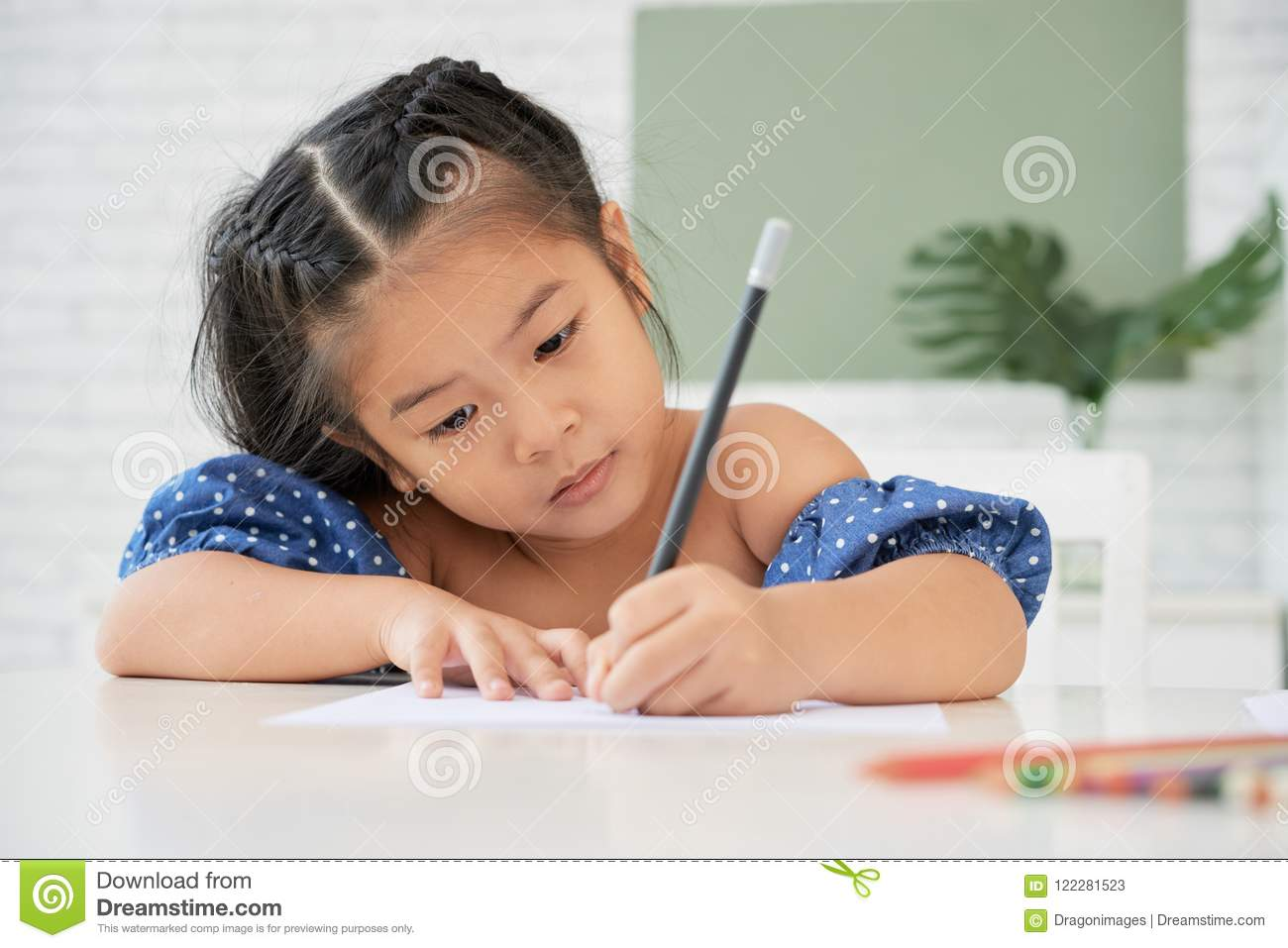 Concentrated Girl Drawing With Pencil Stock Image Image Of