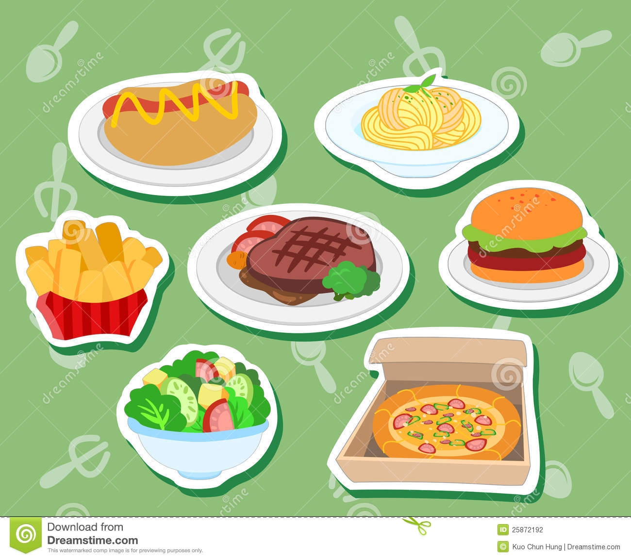 Cute food stickers01 stock vector image of drumstick 25872192 - Stylish cooking ...