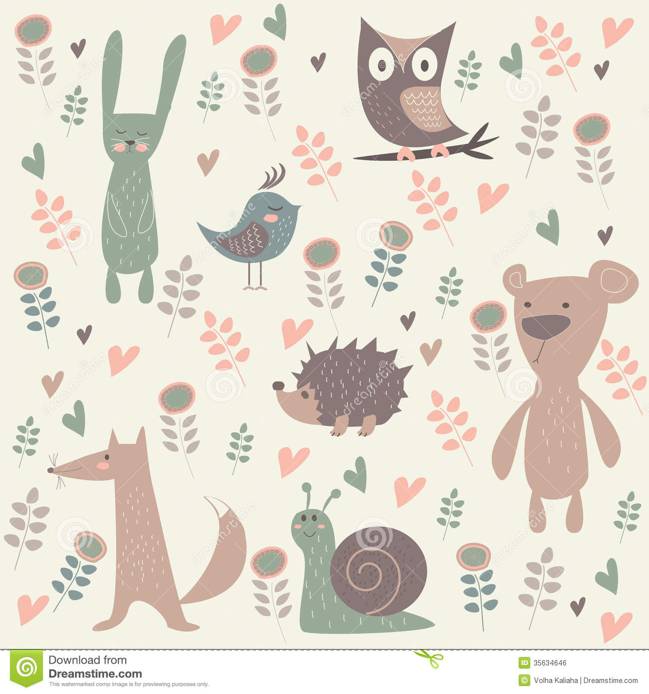 Cute north forest animals. Illustration of rabbit, bear, hedgehog ...