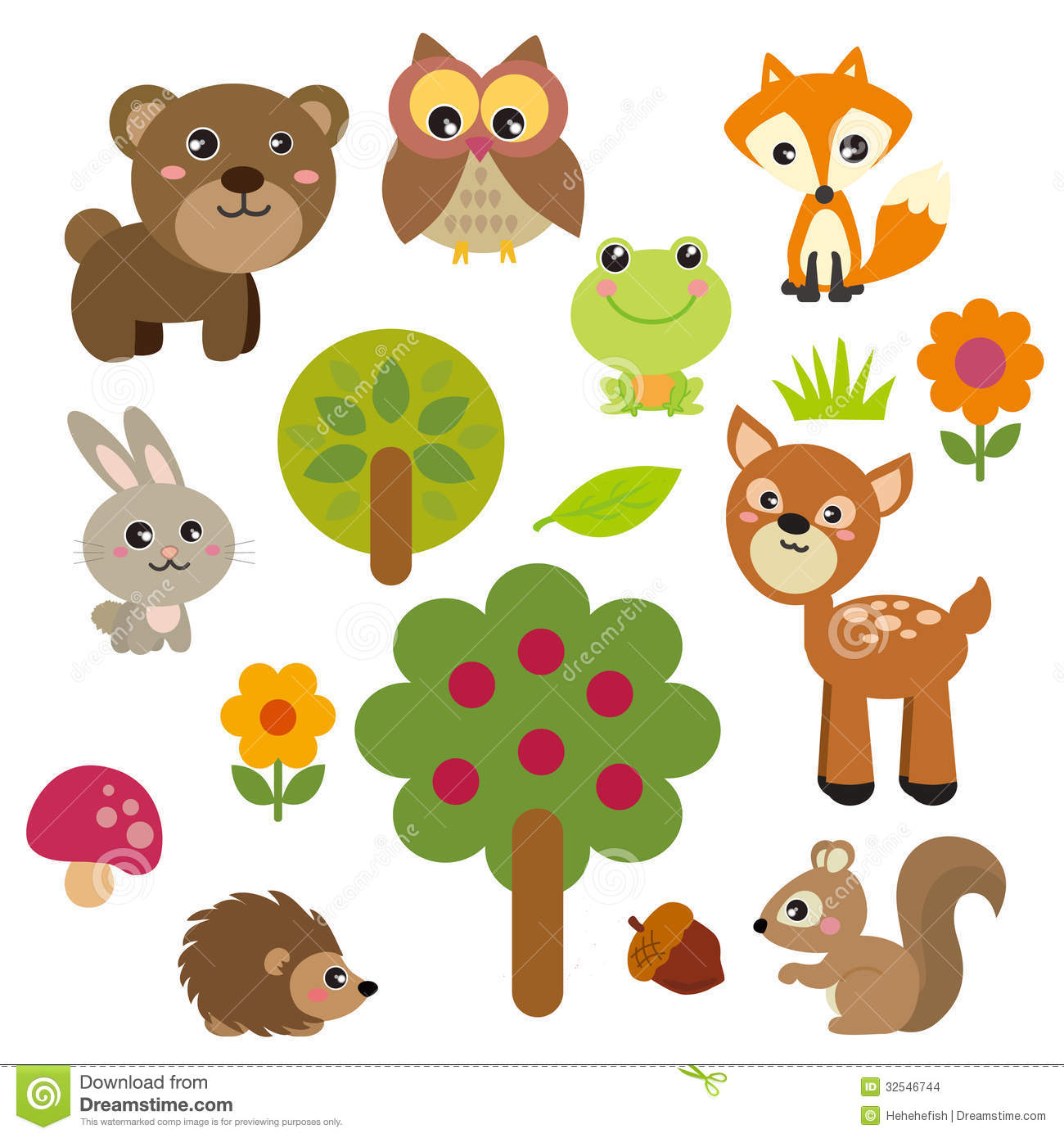Cute Forest Animals stock vector. Illustration of design ...