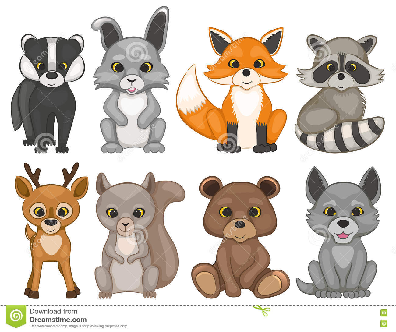 Cute Forest Animals On A White Background Set Of Cartoon