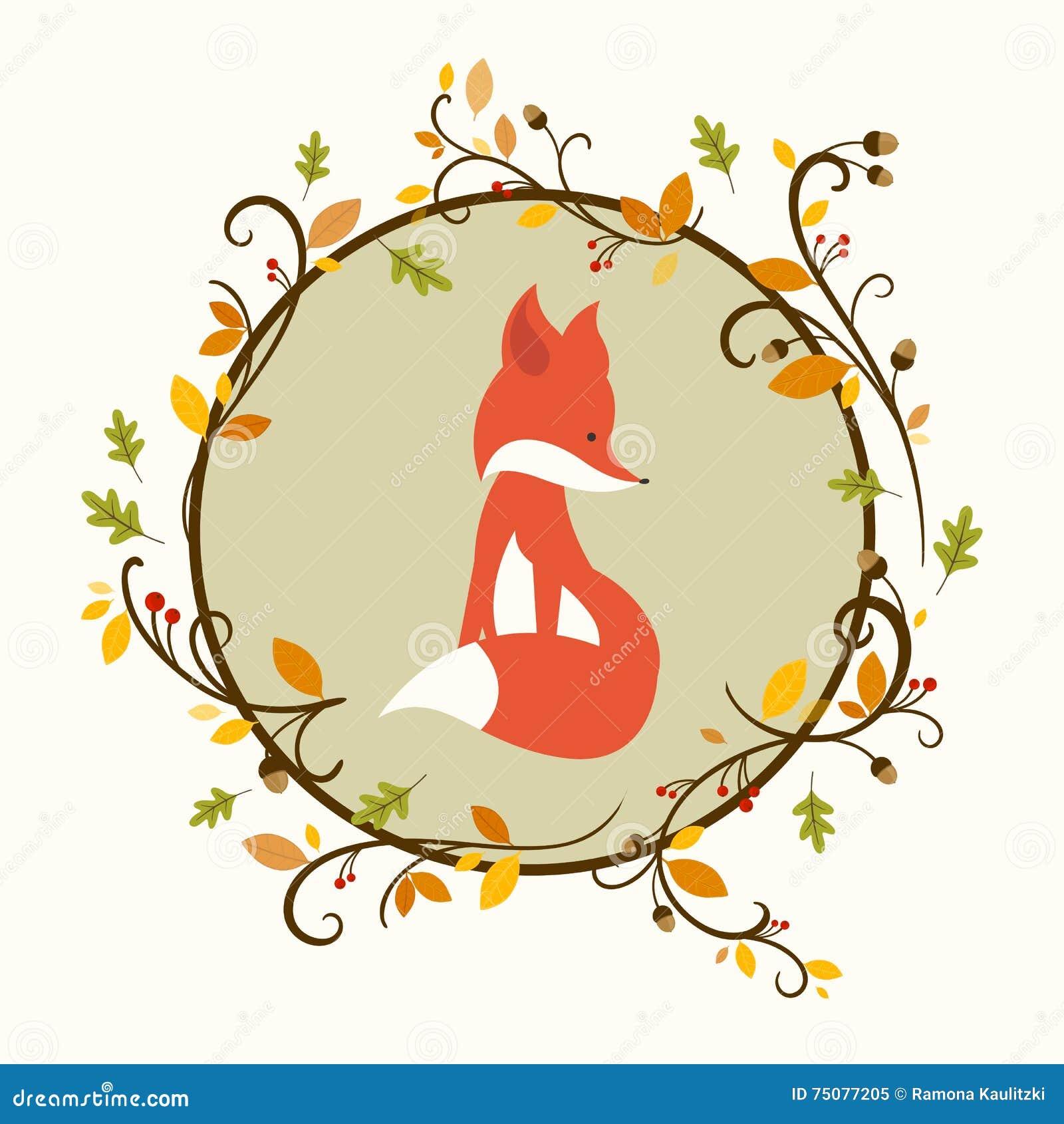 cute fox and autumn leaves stock illustration illustration of