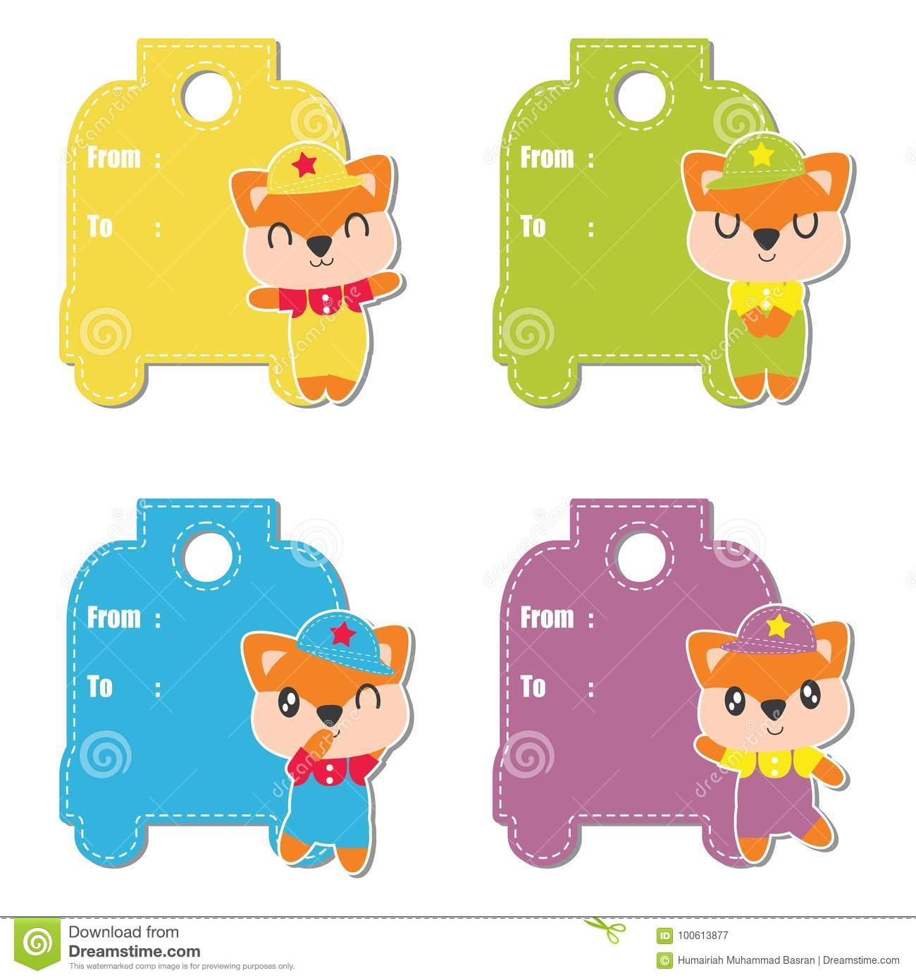 Cute Fox Boys Cartoon Illustration For Birthday Gift Tag Design Label And Sticker Set