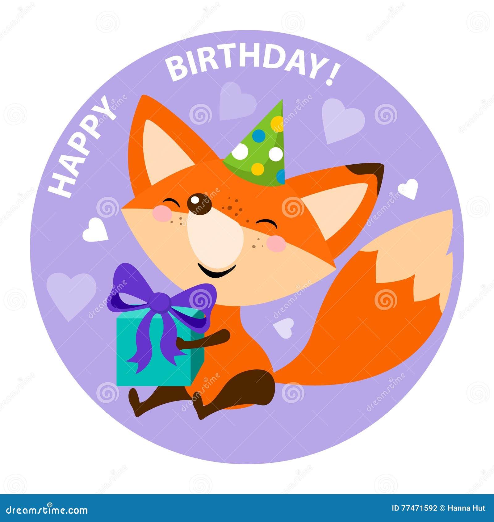 Happy birthday card design with cute cartoon fox stock vector happy birthday card design stock photography kristyandbryce Image collections
