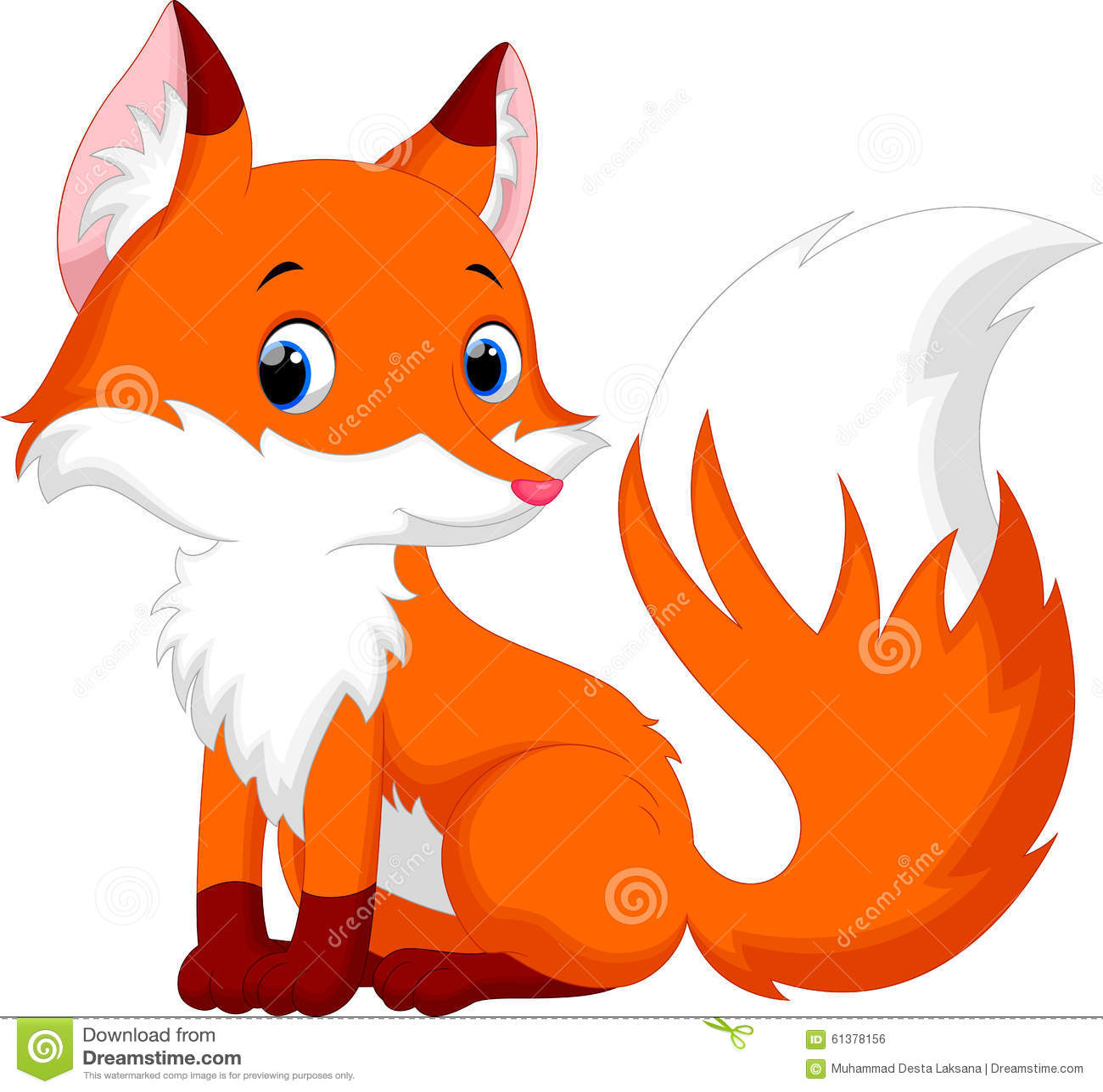 Cute Fox Cartoon Stock Illustration - Image: 61378156
