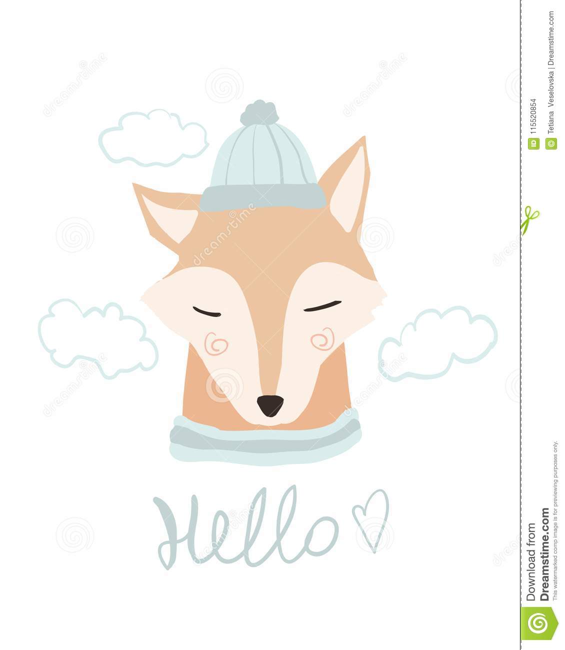 Cute Fox Cartoon Love Sea Hello Spring Baby Animal Card Fox In