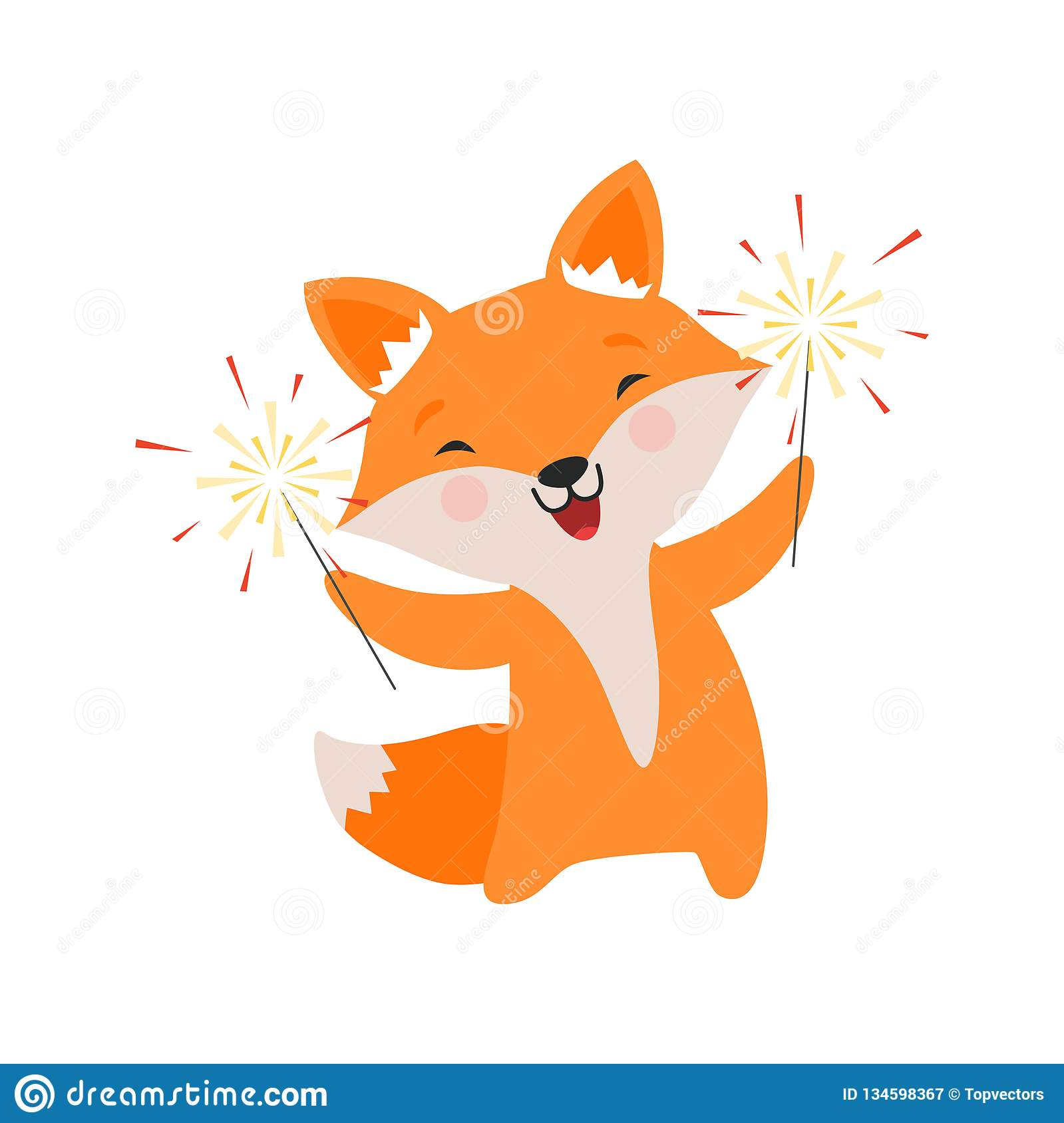 Cute Fox Celebrating With Sparklers Lovely Cartoon Animal Character Design Template Can Be Used For New Year Or Stock Vector Illustration Of Celebration Childish 134598367