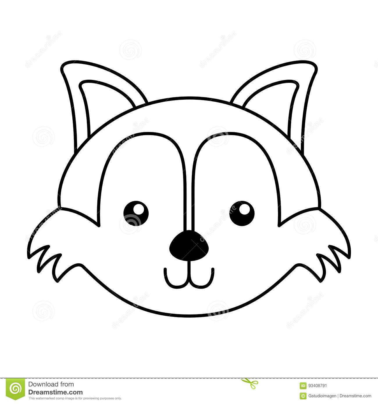 Fox Face Line Drawing : Cute fox face cartoon stock vector image of creature