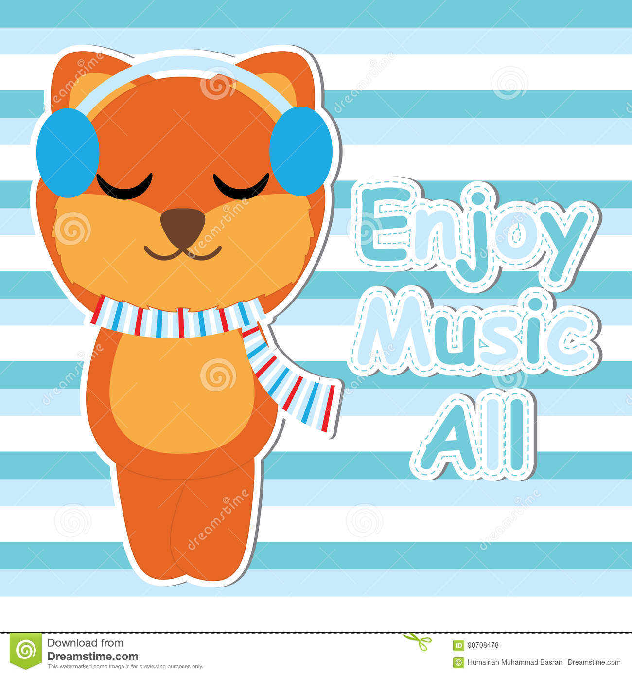Download Cute Fox Listen Music On Striped Background Cartoon, Baby Shower  Postcard, Wallpaper,