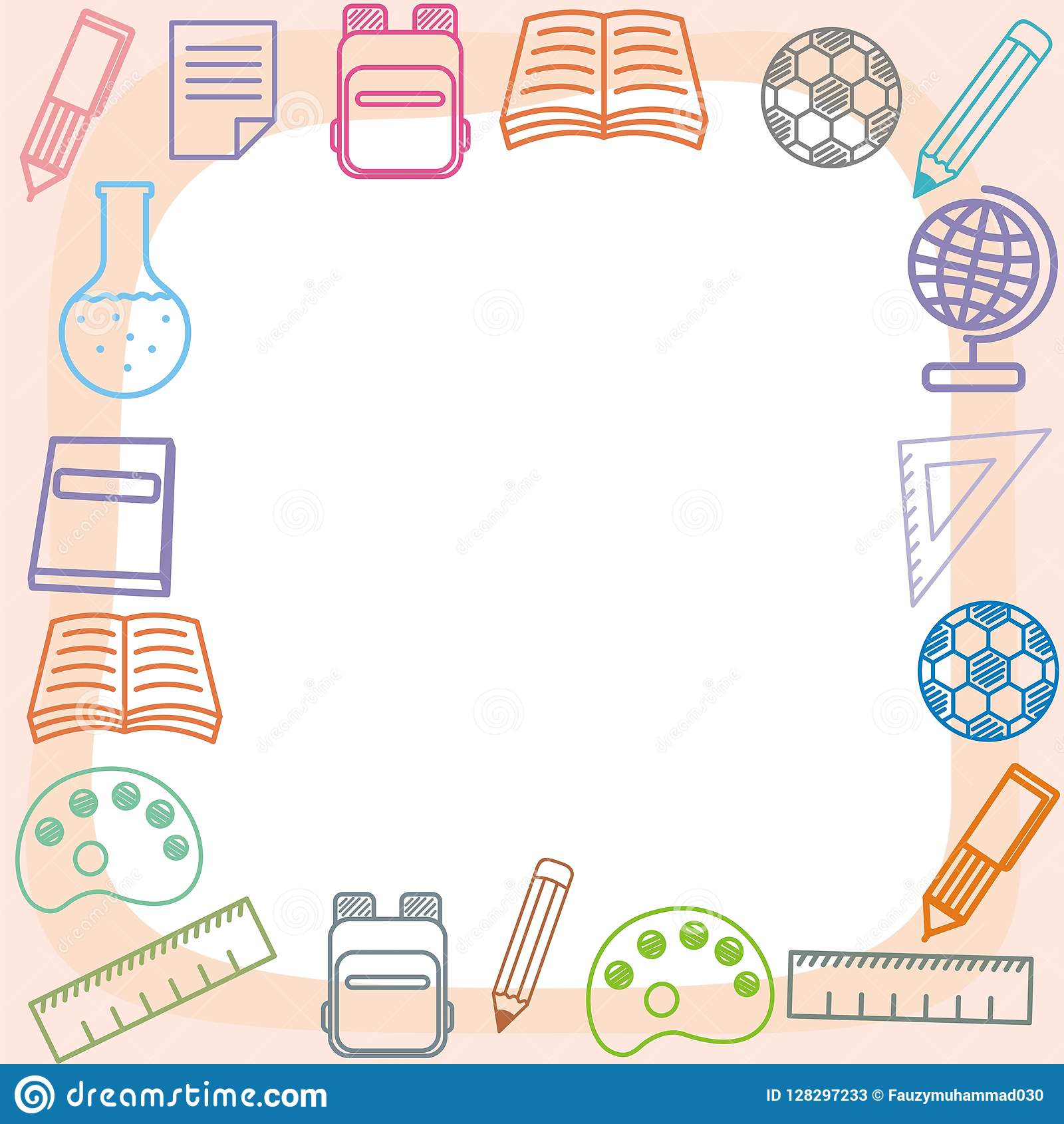 cute frame background with school and student theme stock vector