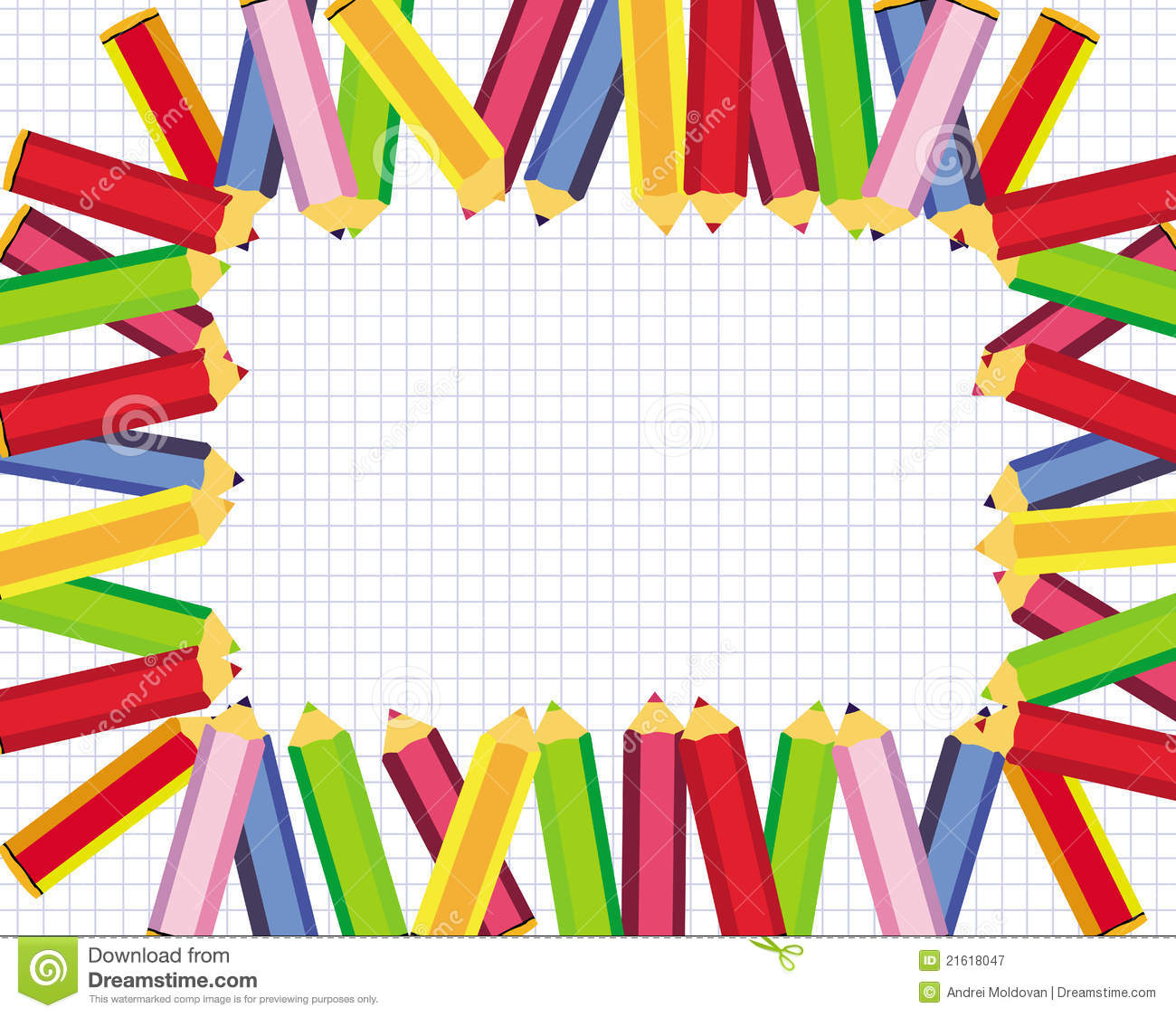 9cb6d1a72505 Royalty-Free Stock Photo. Cute frame with colored pencils for school vector