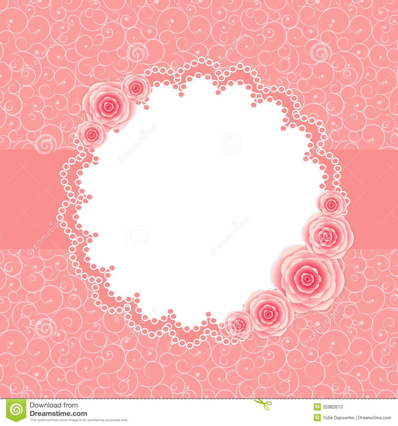 Cute Frame With Rose Flowers Vector Illustration Stock Photos