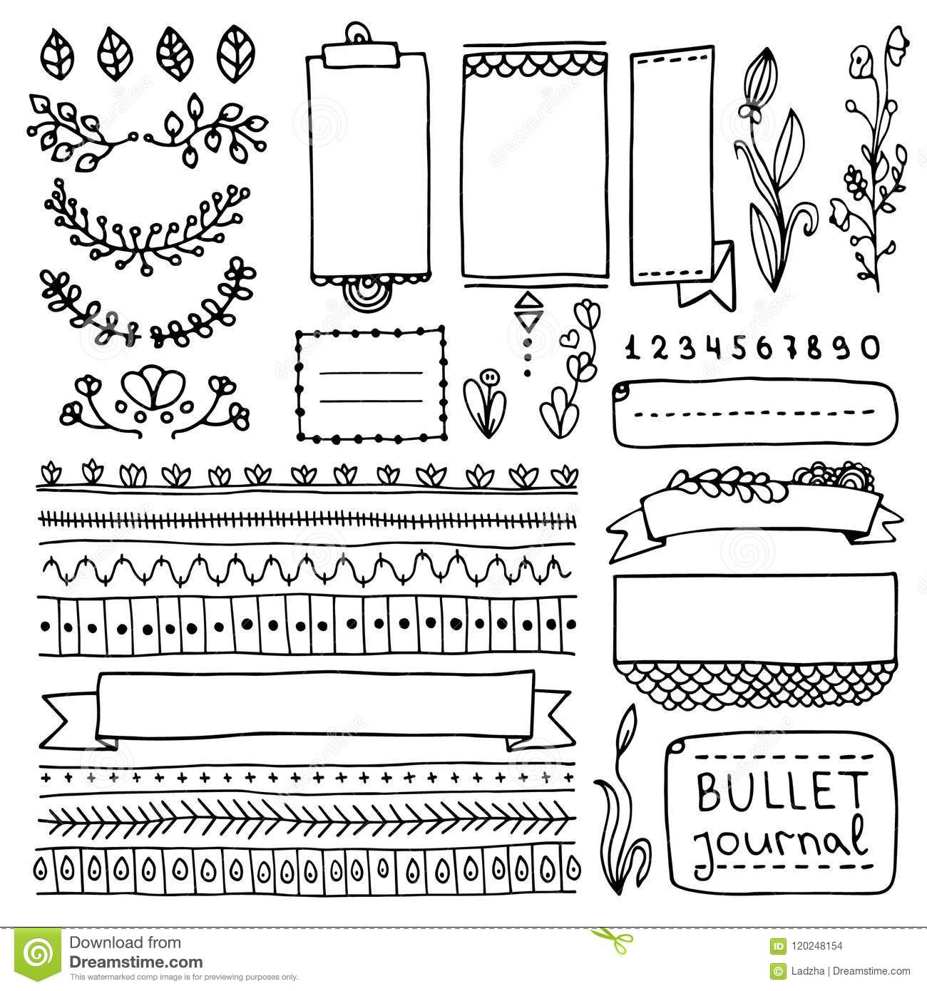 Bullet journal hand drawn vector elements for notebook, diary and planner. Doodle banners isolated on white background. Frames, dividers, ribbons, borders