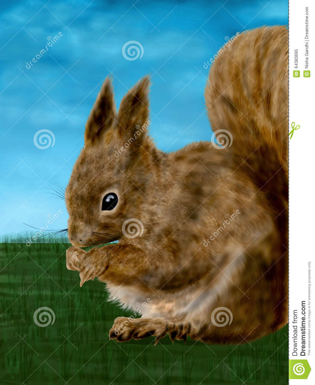 A cute and fun illustration digital painting of a very innocent squirrel