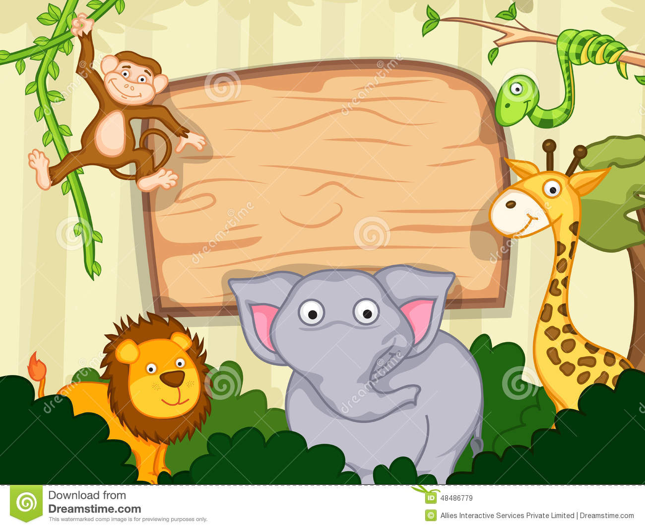 Cute funny animals with wooden board stock illustration