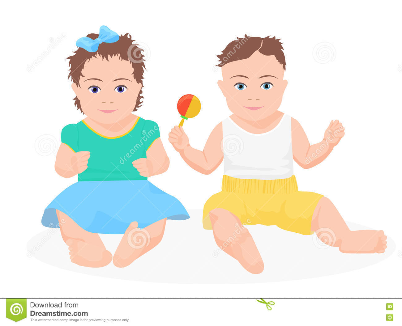 Cute Funny Baby Boy And Girl Sitting Together Vector Illustration
